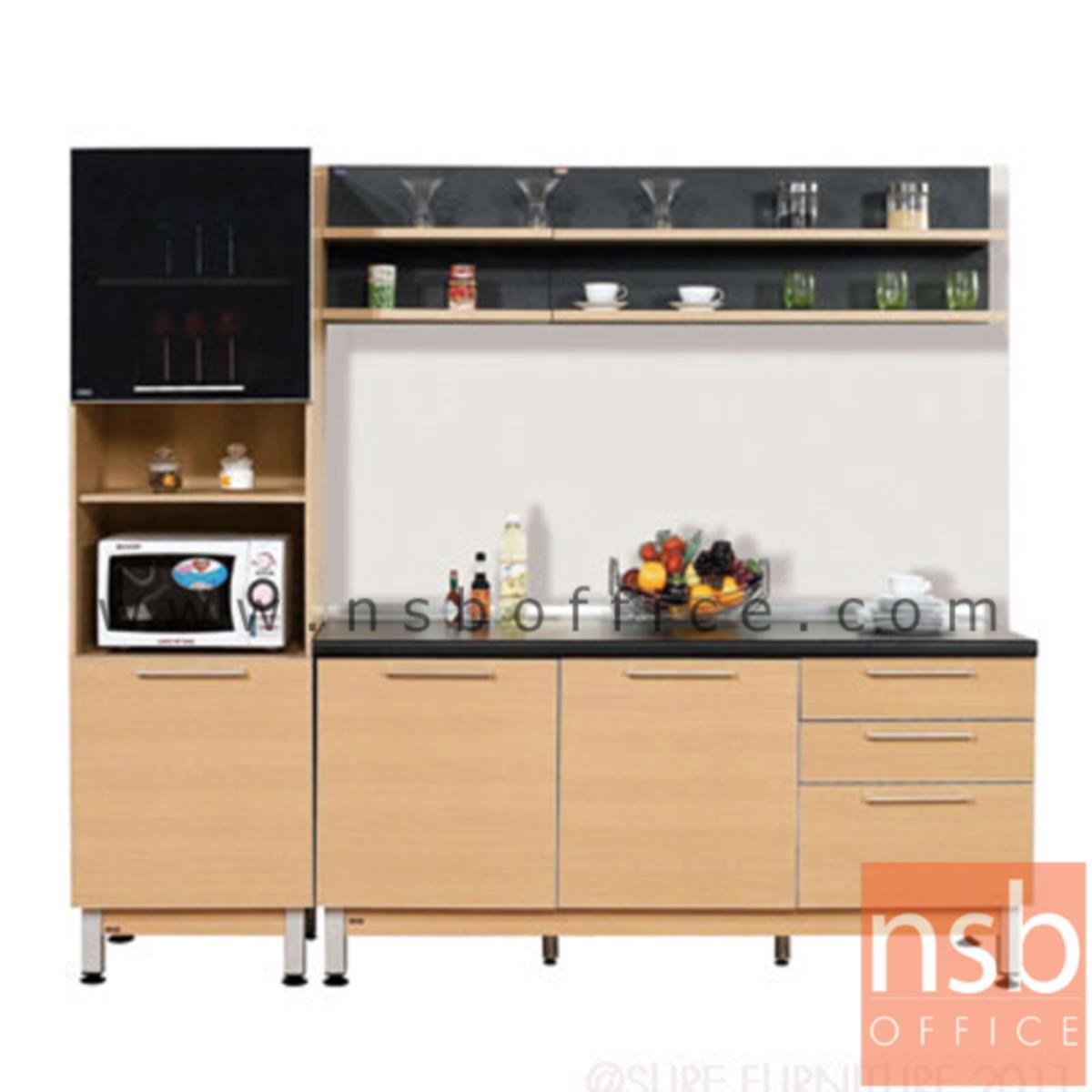 K02A012:ชุดตู้ครัวสีบีทดำ 240W cm.  รุ่น STEP-122 (สำหรับครัวเปียกและครัวแห้ง)