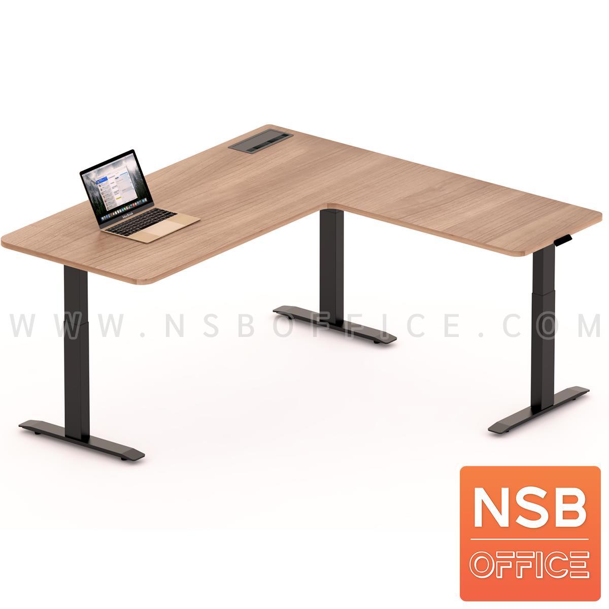 A44A001:โต๊ะทำงานปรับระดับ Sit 2 Stand ทรงตัวแอล รุ่น Carmelo (คาร์เมโล่) ขนาด 160W, 180W cm.  พร้อมป็อปอัพรุ่น A24A057