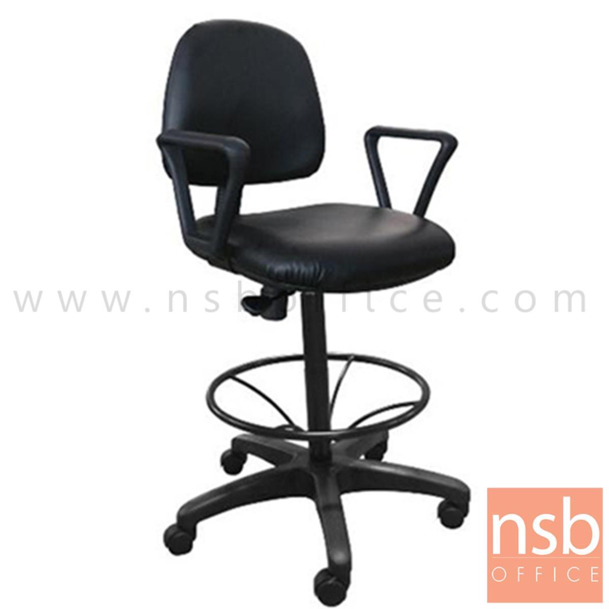 B02A061:เก้าอี้บาร์ที่นั่งเหลี่ยมล้อเลื่อน รุ่น Grave (เกรฟ)  โช๊คแก๊ส มีก้อนโยก ขาพลาสติกแบบตัน