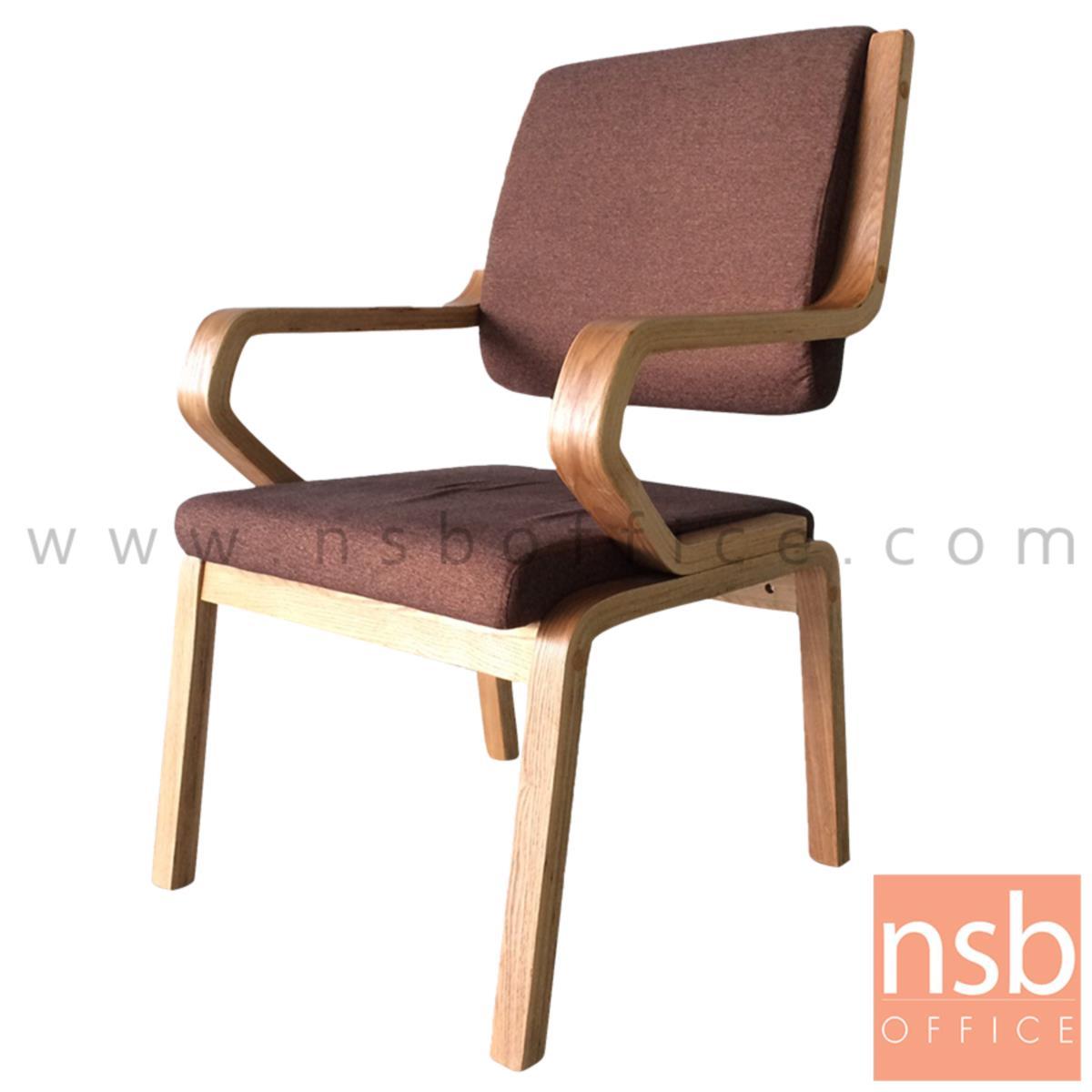 B22A160:เก้าอี้ไม้จริงใหญ่ ที่นั่งหุ้มผ้า รุ่น Rinatia (รินาเทีย)  ขาไม้