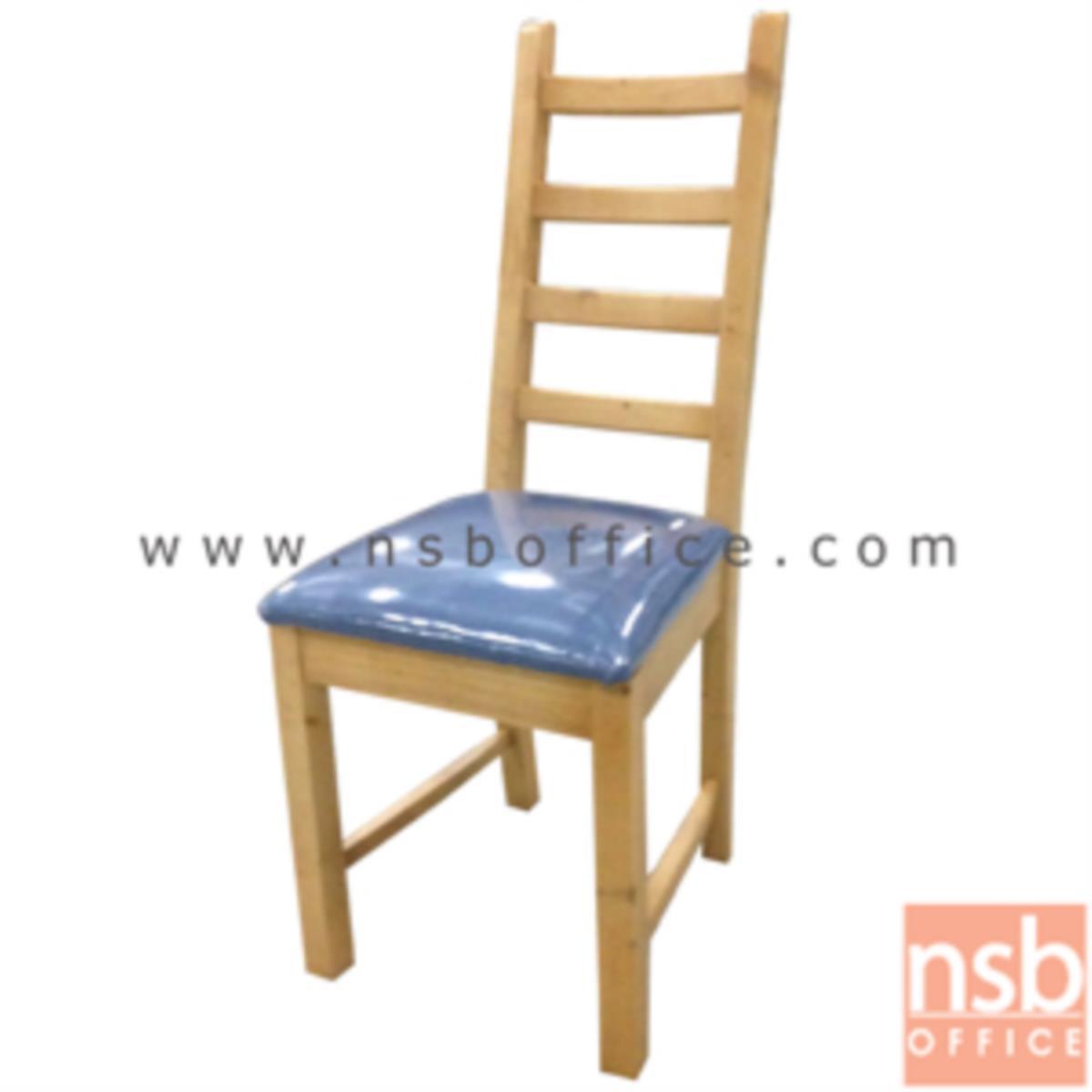 G14A057:เก้าอี้ไม้ยางพาราหรือเก้าอี้ไม้นิวซีแลนด์ที่นั่งหุ้มหนังเทียม รุ่น Klara (คลาร่า) ขาไม้