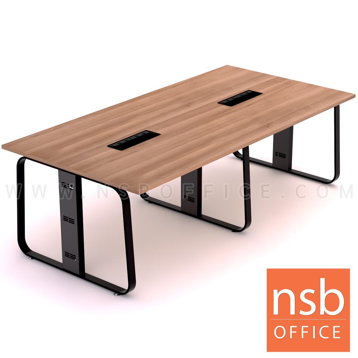 A05A226:โต๊ะประชุมสี่เหลี่ยม รุ่น Trinity (ทรินิตี้) ขนาด 240W*120D cm.  พร้อมป๊อปอัพ รางไฟใต้โต๊ะ ขาเหล็กทรงแจกัน
