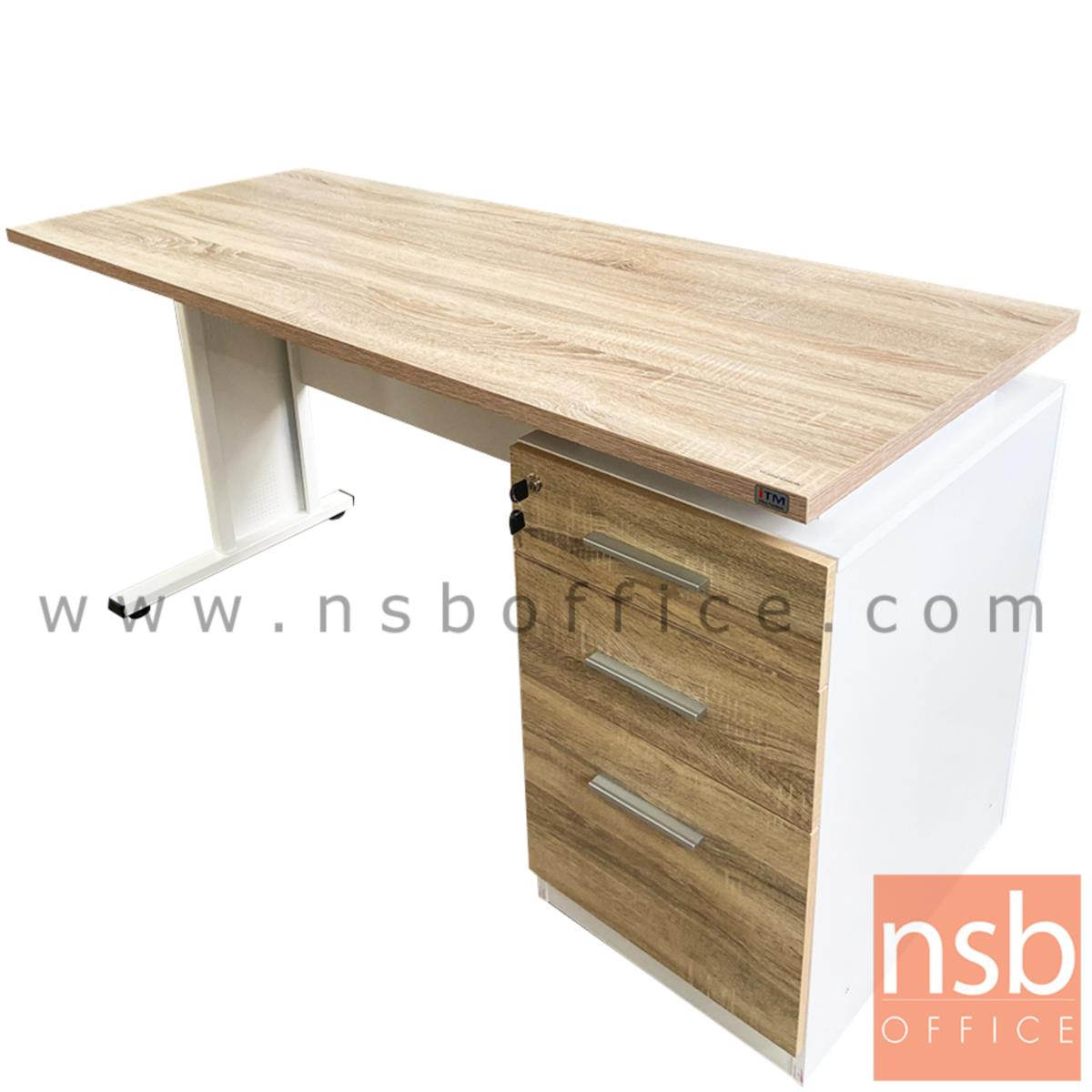 โต๊ะทำงาน 3 ลิ้นชัก รุ่น Bari (บารี) ขนาด 120W, 150W cm. ขาเหล็ก