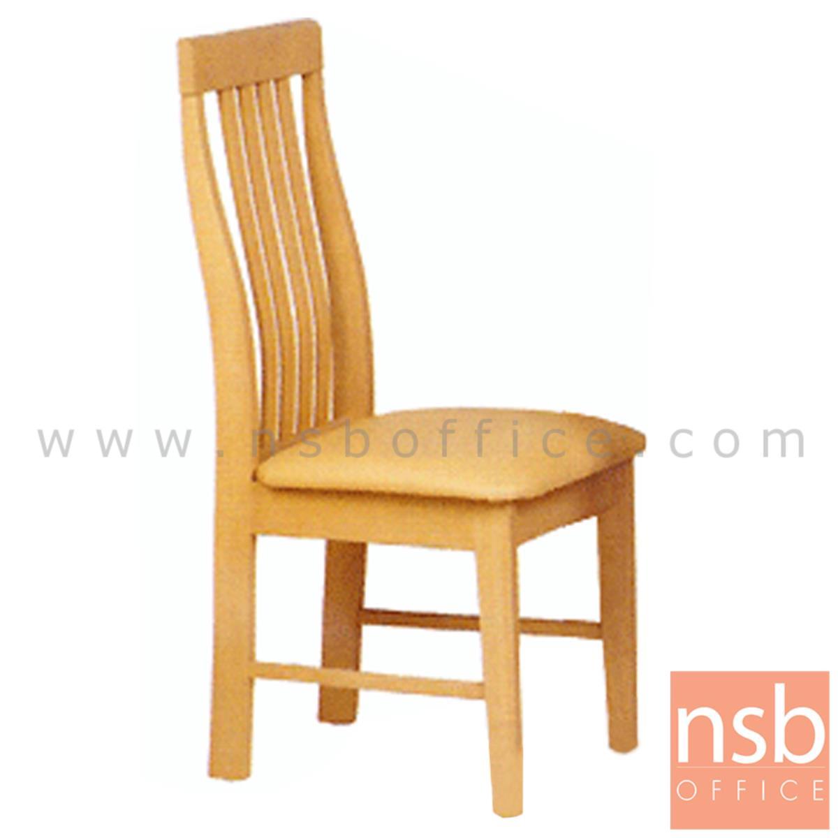 เก้าอี้ไม้ยางพาราที่นั่งหุ้มหนังเทียม รุ่น Clancy (แคลนซี) ขาไม้