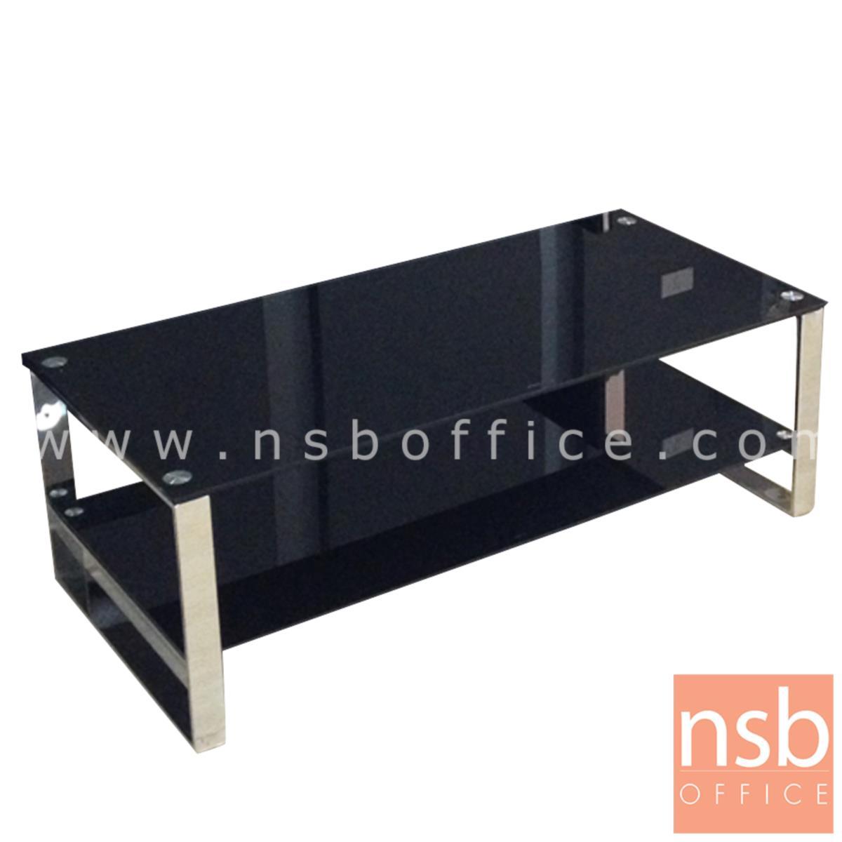 B13A151:โต๊ะกลางกระจกนิรภัยสีดำ  รุ่น Macbeth (แม็คเบ็ธ) ขนาด 120W cm. โครงขาสเตนเลส