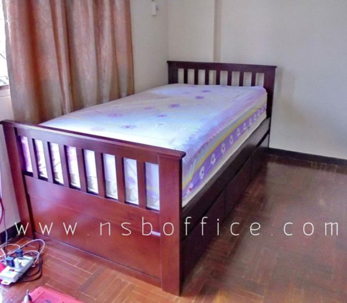 เตียงเดี่ยว 3.5 ฟุต แบบมีเตียงเสริมด้านใต้ ไม้ยางพารา   (สต็อก 3 ชุด)