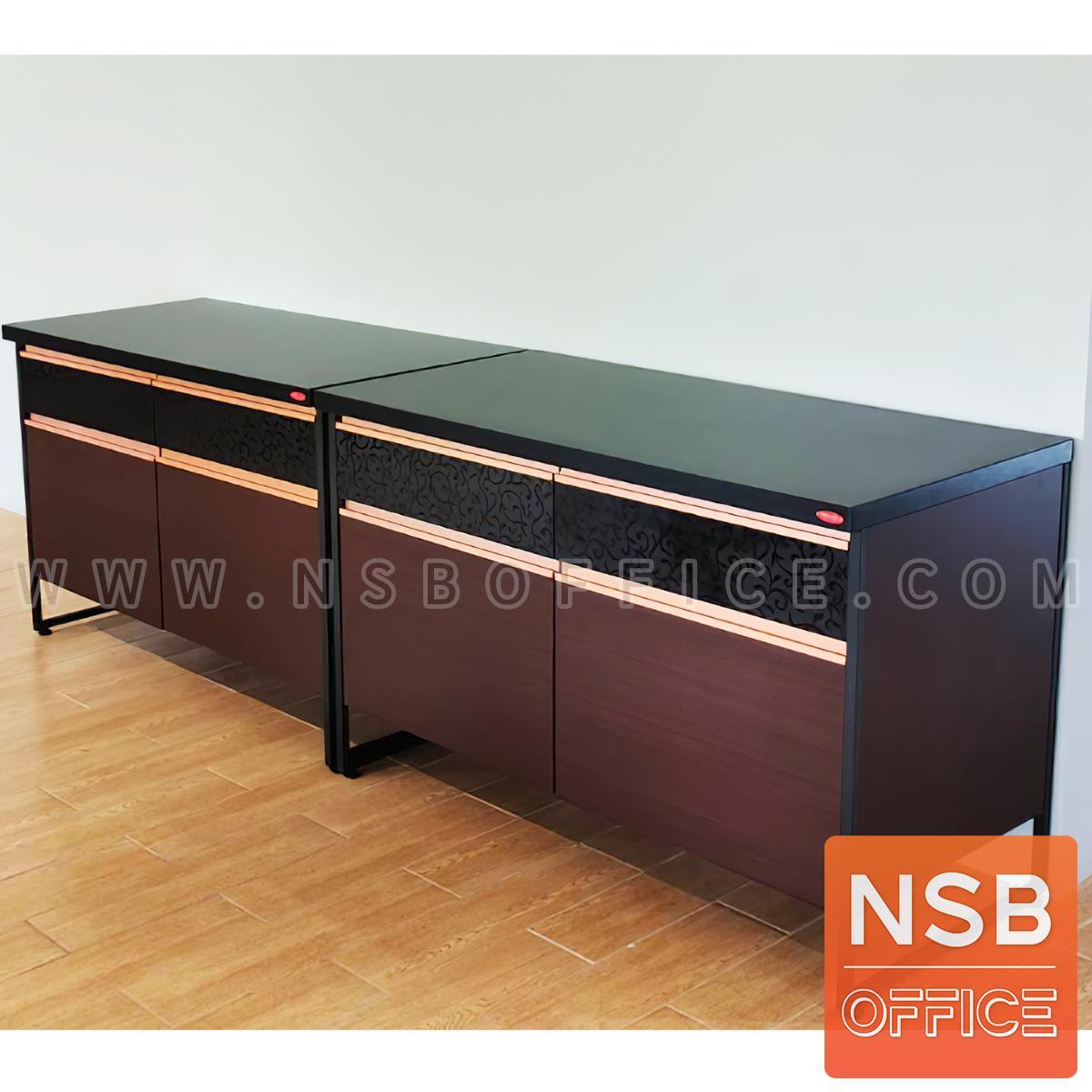 ตู้ครัวหน้าเรียบ 2 บานเปิด 2 ลิ้นชัก 120W*60D*80H cm. โครงเหล็กพ่นดำ