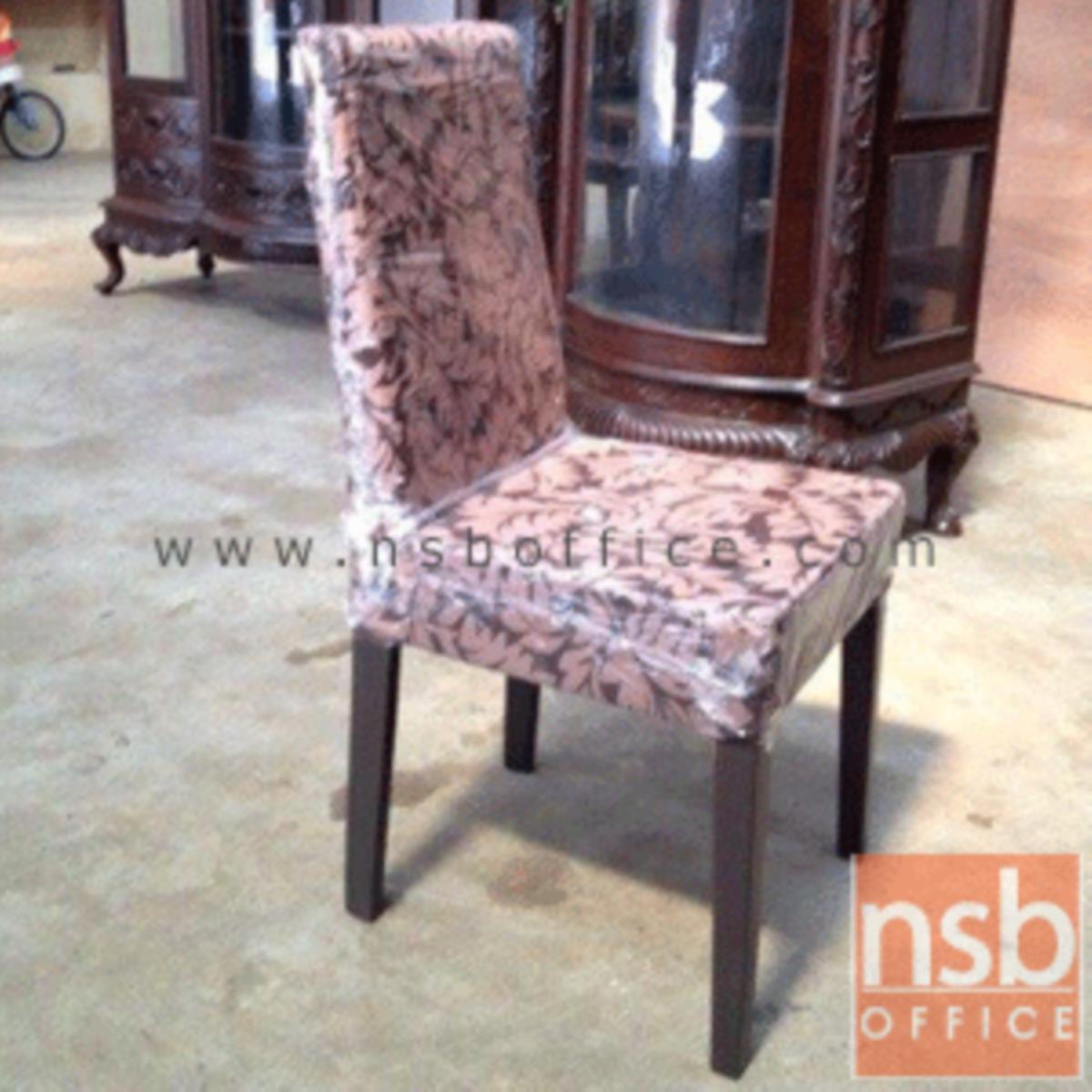 เก้าอี้ไม้ยางพาราที่นั่งหุ้มหนังเทียม รุ่น Karolina (คาโรไลน่า) ขาไม้