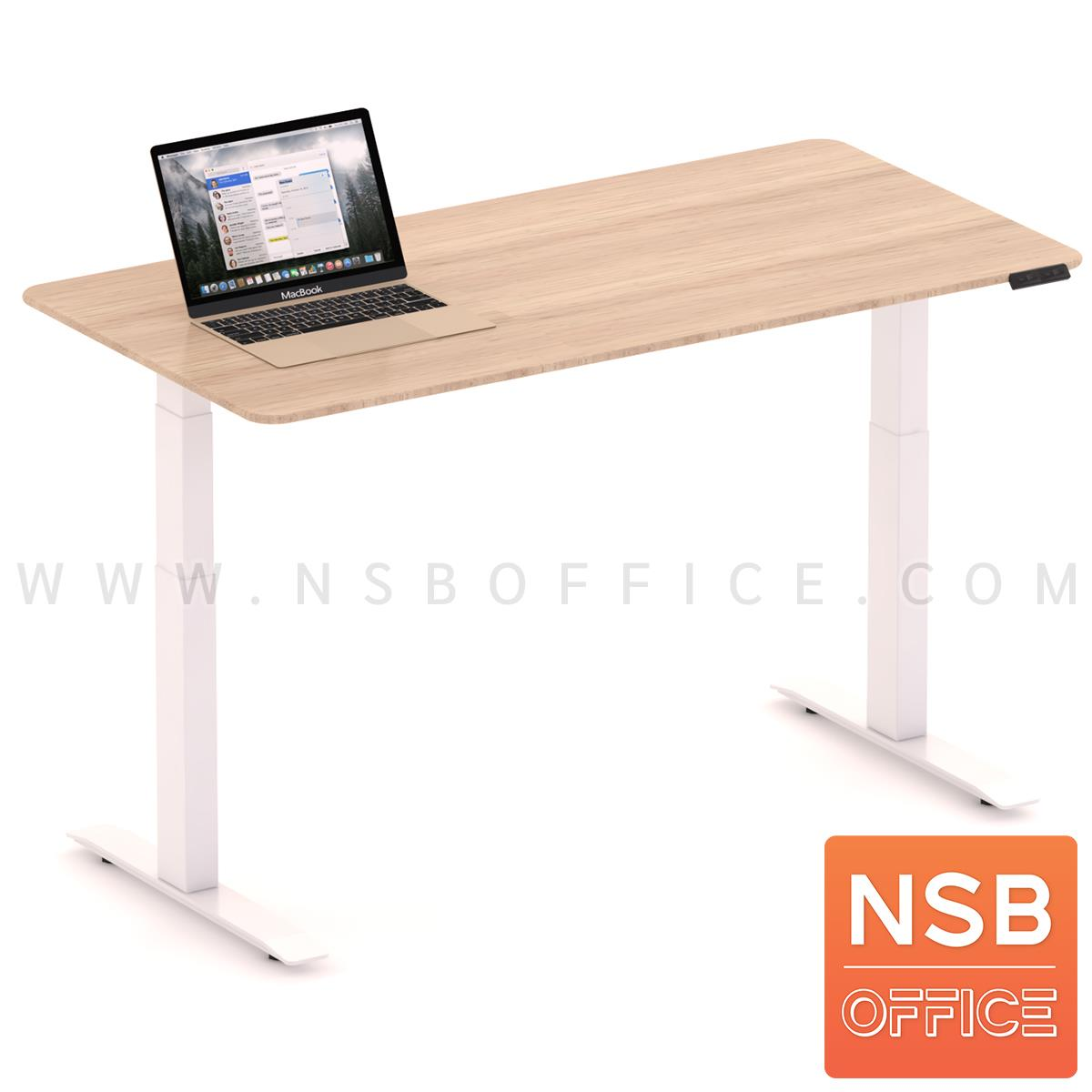A44A005:โต๊ะทำงาน Sit 2 Stand ระบบไฟฟ้า  รุ่น Civic (ซีวิค)  ขนาด 150W, 180W cm. หน้าท็อปไม้ยางพารา