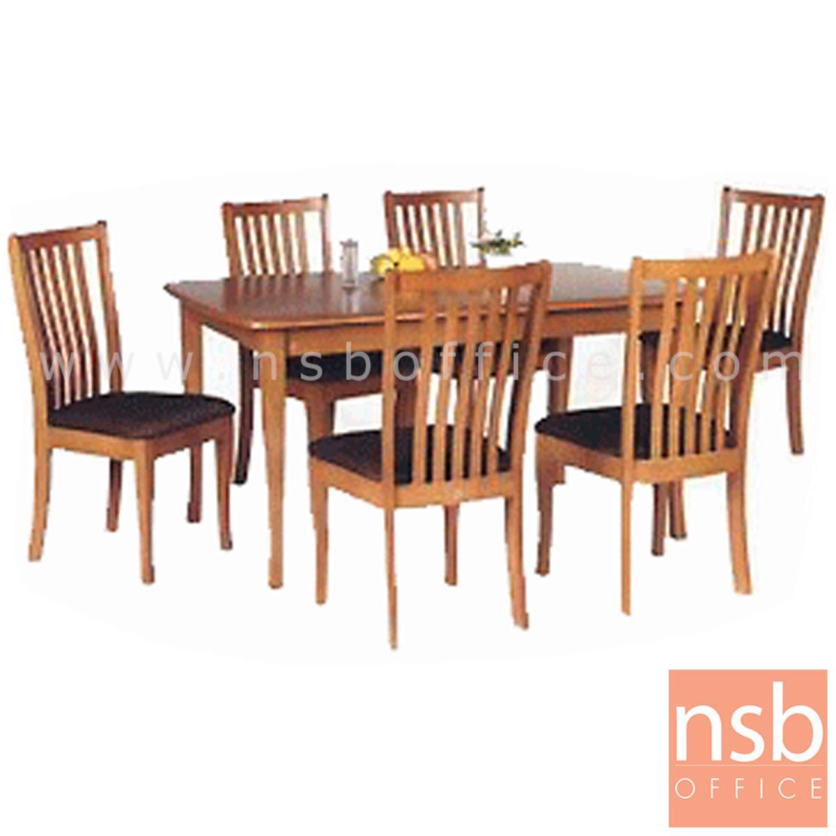 G14A029:ชุดโต๊ะรับประทานอาหารโฟเมก้าลายไม้ 6 ที่นั่ง รุ่น SUNNY-18 ขนาด 150W cm. พร้อมเก้าอี้