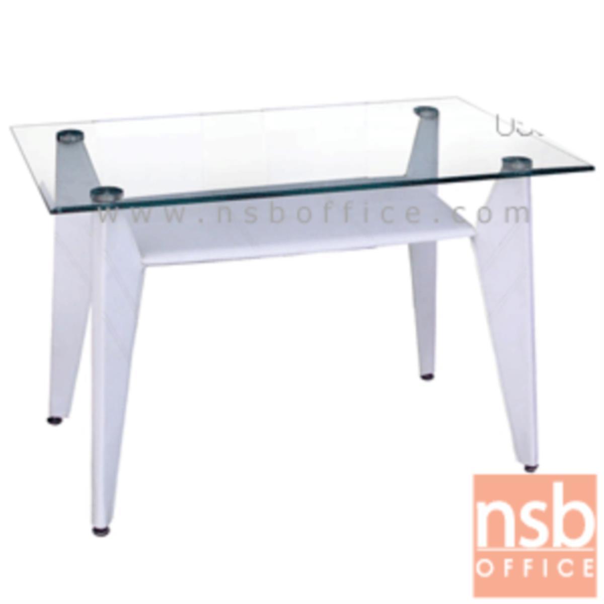 โต๊ะประชุมเหลี่ยมหน้ากระจก รุ่น Remigio (เรมีโจ) ขนาด 120W cm.  ขาเหล็กหุ้มหนัง