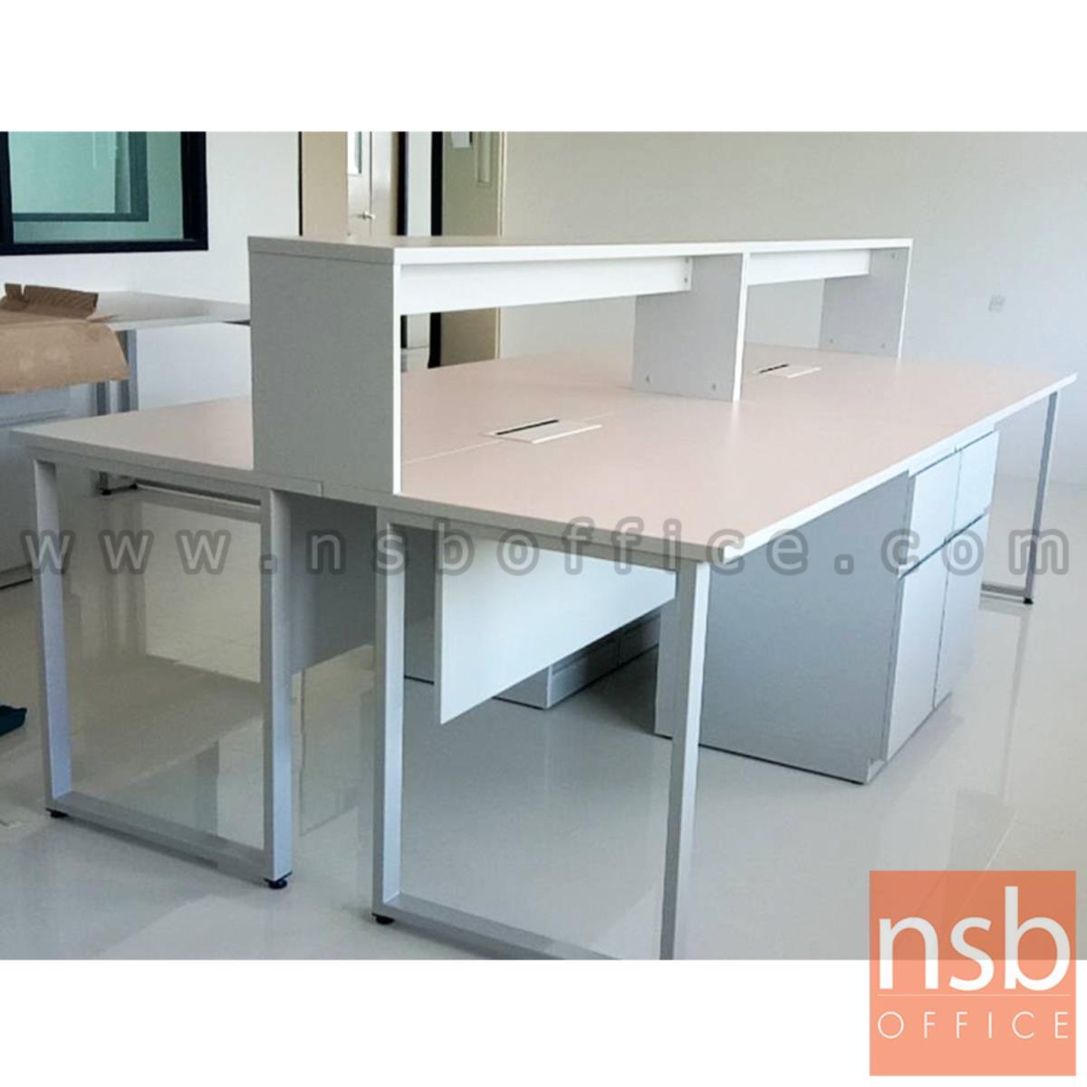 โต๊ะห้องแล๊บท๊อปลามิเนต HPL แบบมีชั้นต่อบน  พร้อม popup กึ่งกลางโต๊ะ
