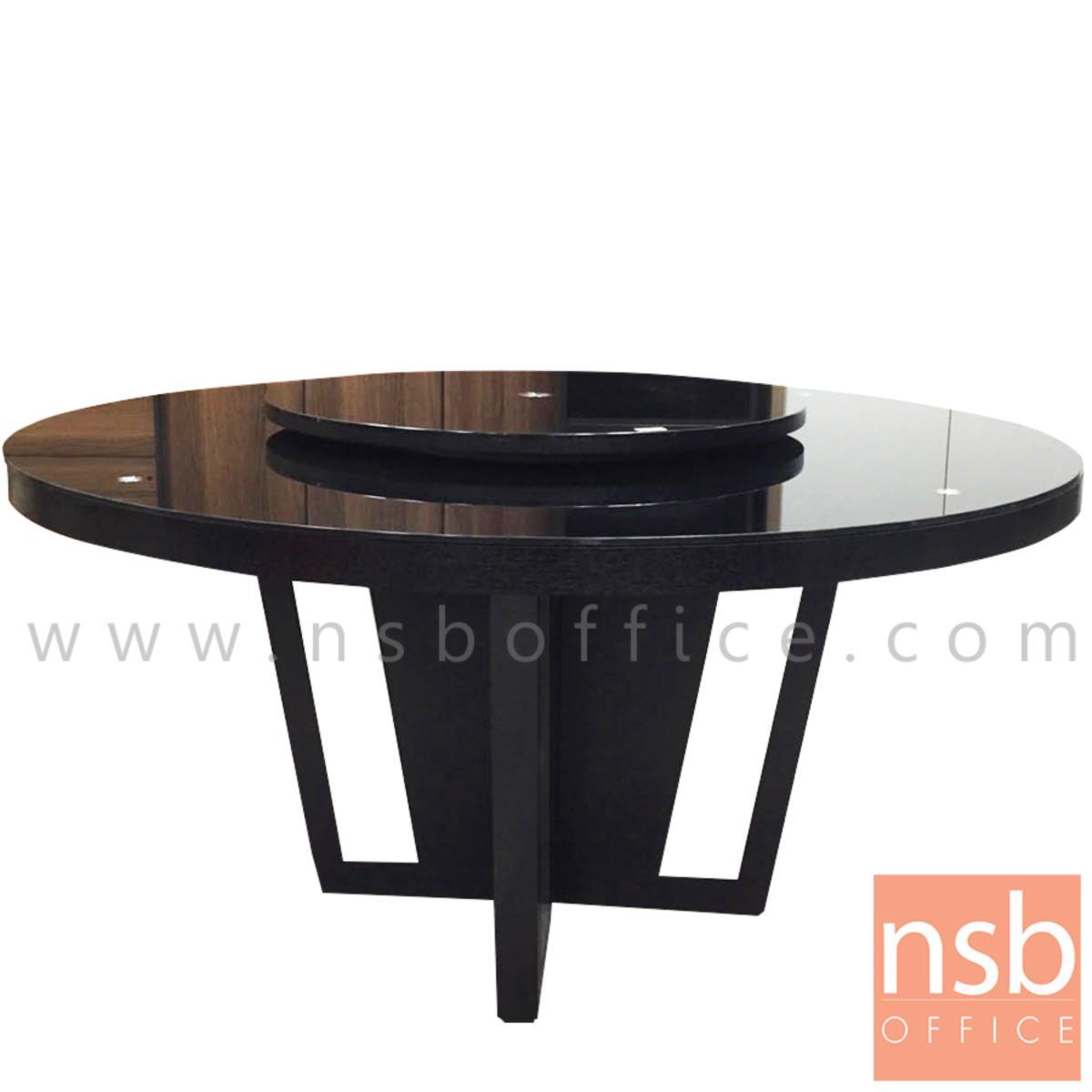 G14A173:โต๊ะรับประทานอาหารหน้ากระจกชาดำ รุ่น Applegate (แอปเปิลเกต) ขนาด 135Di ,150Di cm.