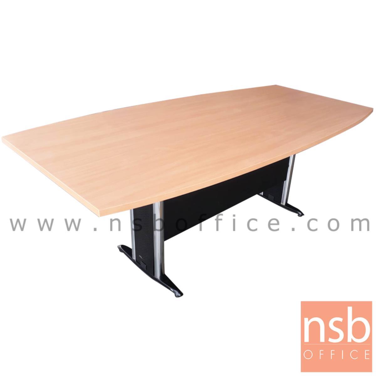 โต๊ะประชุมทรงเรือ รุ่น TABLE-WMT ขนาด 200W ,240W cm. พร้อมบังโป๊ไม้ ขาเหล็กตัวที
