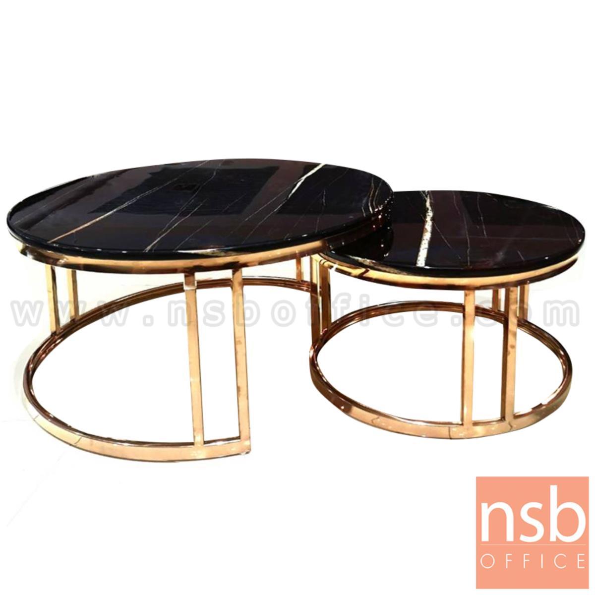 B13A284:โต๊ะกลางหินอ่อน รุ่น Maltese (มอลทีส)  ขาสีพิ้งค์โกลด์