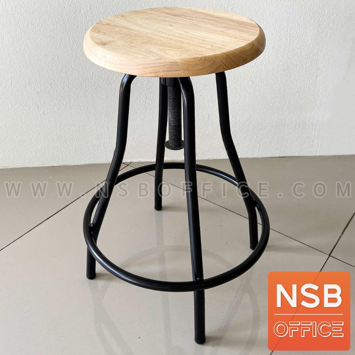 B02A102:เก้าอี้บาร์สตูลหน้าไม้ที่นั่งกลม รุ่น Restorex  โครงเหล็ก