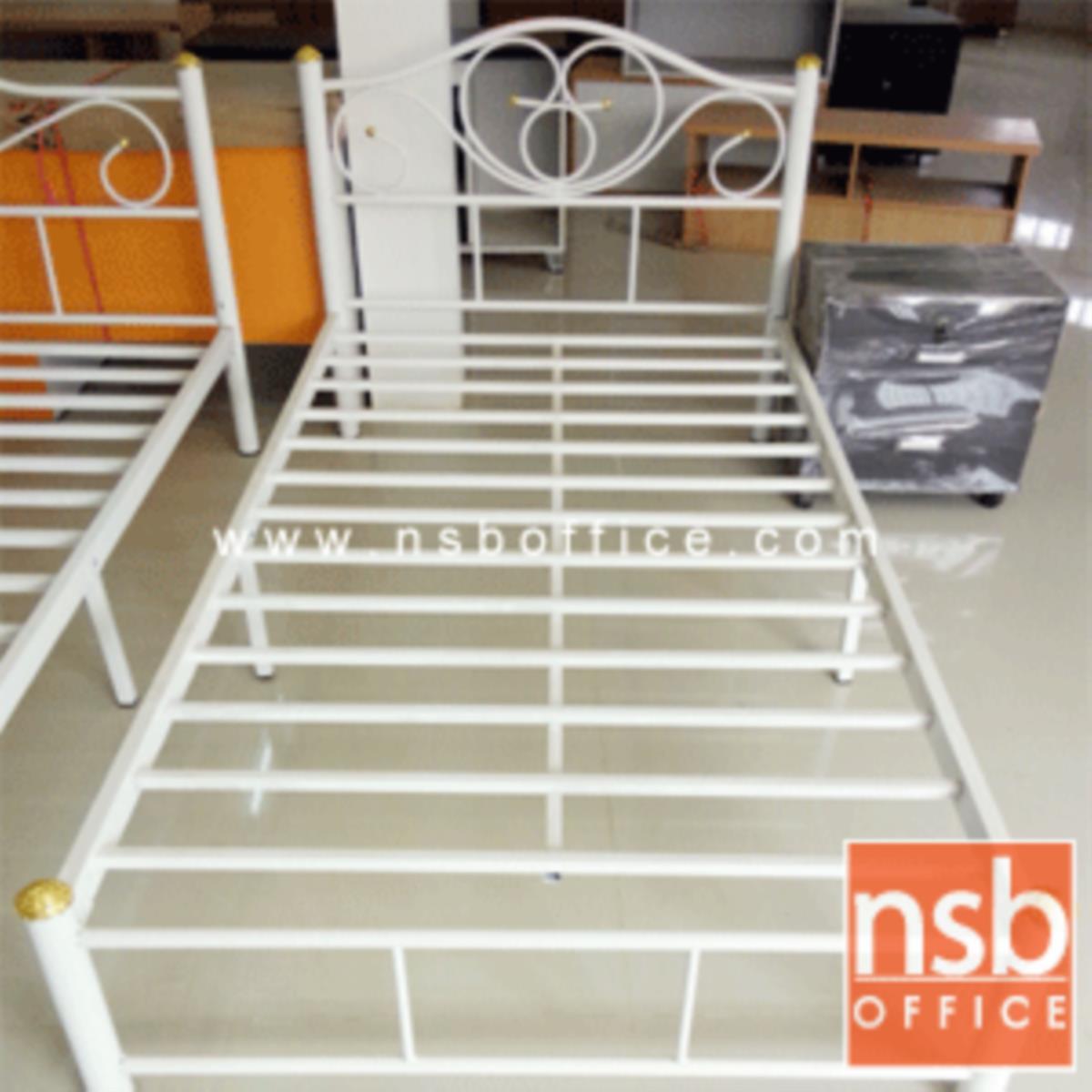 เตียงเหล็กชั้นเดียว 3 ฟุตครึ่ง รุ่นมาตรฐาน หนา 0.7 mm ขนาด 106.6W* 200D* 33H cm. สีดำ (ลายบัว)
