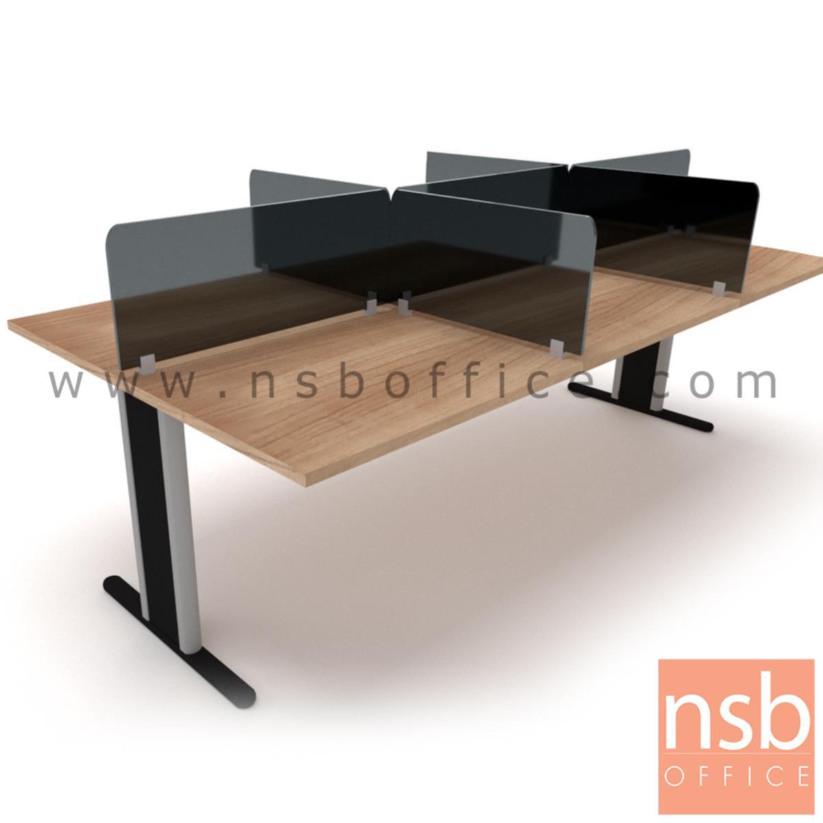 A04A032:ชุดโต๊ะทำงานกลุ่ม Call Center 6 ที่นั่ง   ขนาด 80W cm. พร้อมแผ่นมินิสกรีนกระจก ขาตัวที