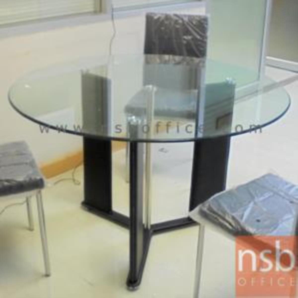 โต๊ะกลมหน้ากระจก รุ่น Phillip (ฟิลลิป) ขนาด 120Di ,150Di cm.  ขาเหล็กหุ้มหนัง