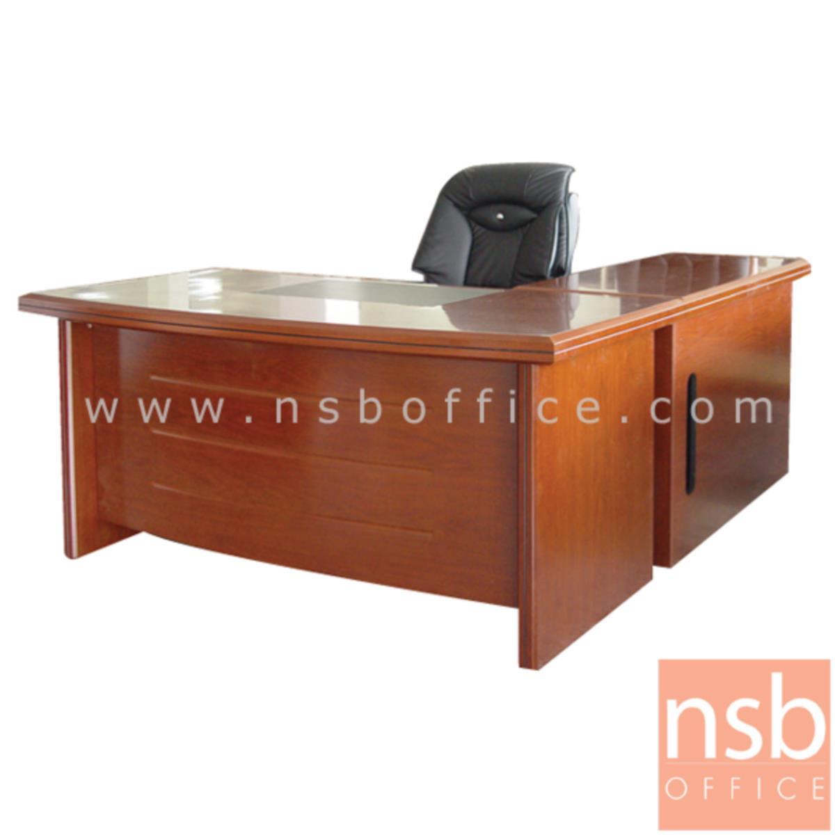 A06A055:โต๊ะผู้บริหารตัวแอล  รุ่น Campbell (แคมป์เบลล์) ขนาด 160W cm. พร้อมตู้ข้างและตู้ลิ้นชัก