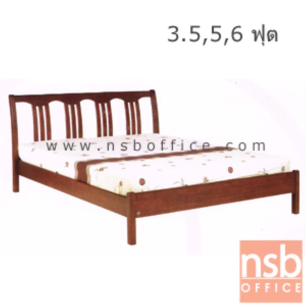 G11A093:เตียงไม้ยางพาราล้วน 3.5 , 5 และ 6 ฟุต หัวเตียงไม้ระแนงตั้ง