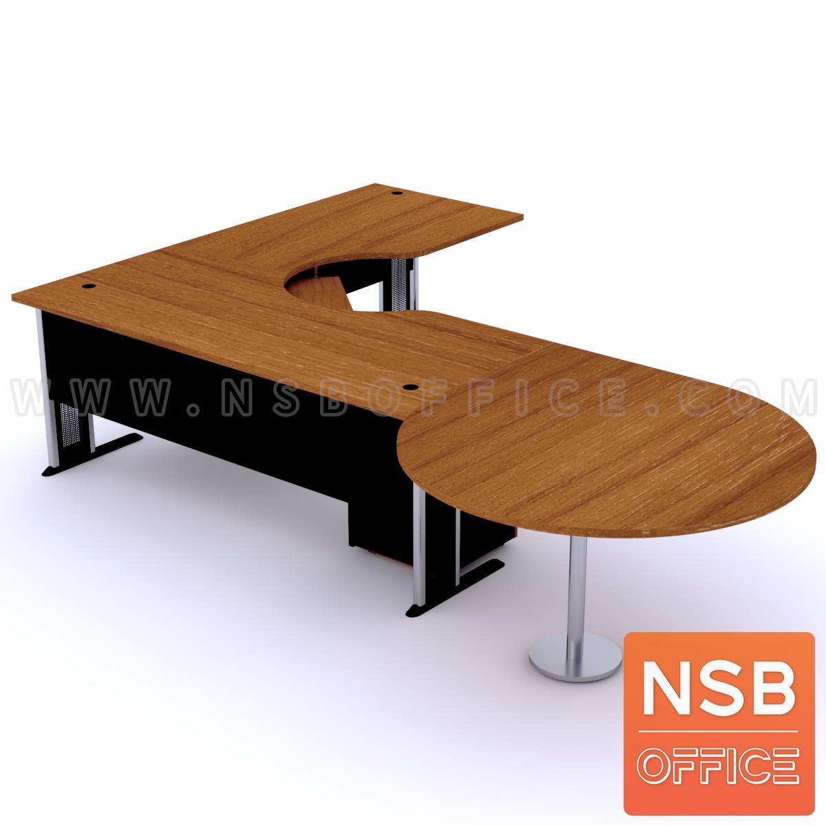 โต๊ะผู้บริหารตัวแอลหน้าโค้งเว้า   ขนาด 300W1*180W2 cm. ขาเหล็กโครเมี่ยมดำ สีเชอร์รี่-ดำ *แอลตามภาพเท่านั้น*