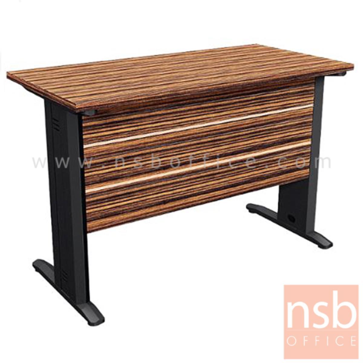 A26A025:โต๊ะทำงาน รุ่น Private Blend ขนาด 120W ,150W cm.  ขาเหล็ก สีลายไม้ซีบราโน่ตัดดำ ขอบ ROSEGOLD
