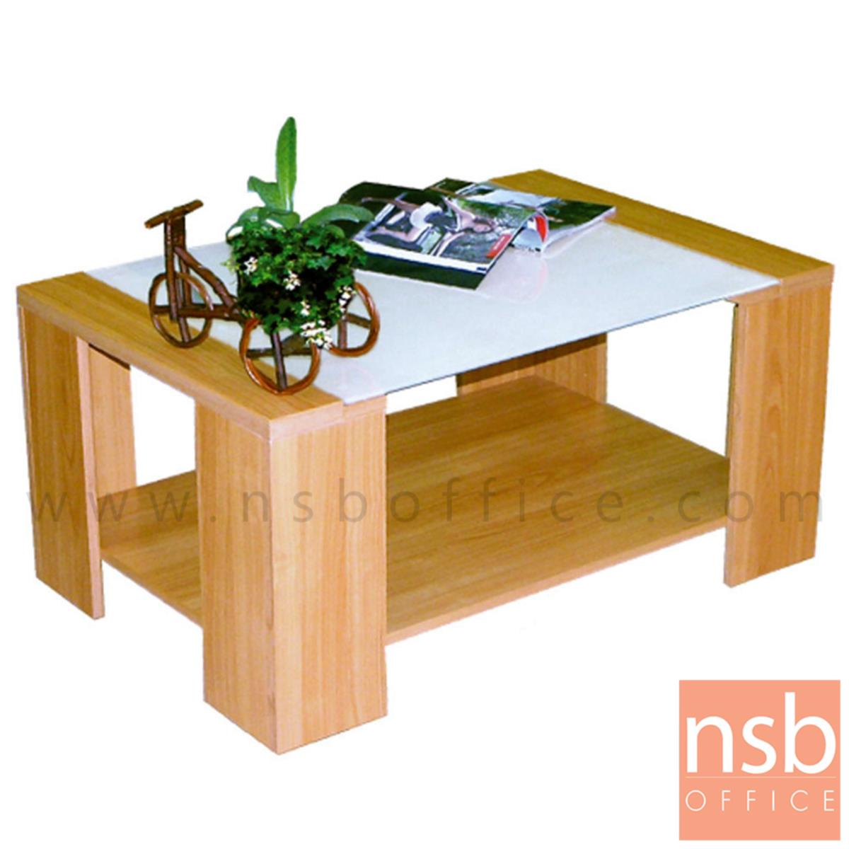 B13A062:โต๊ะกลางกระจก  รุ่น Lakebottom (Lakebottom) ขนาด 90W cm. โครงไม้
