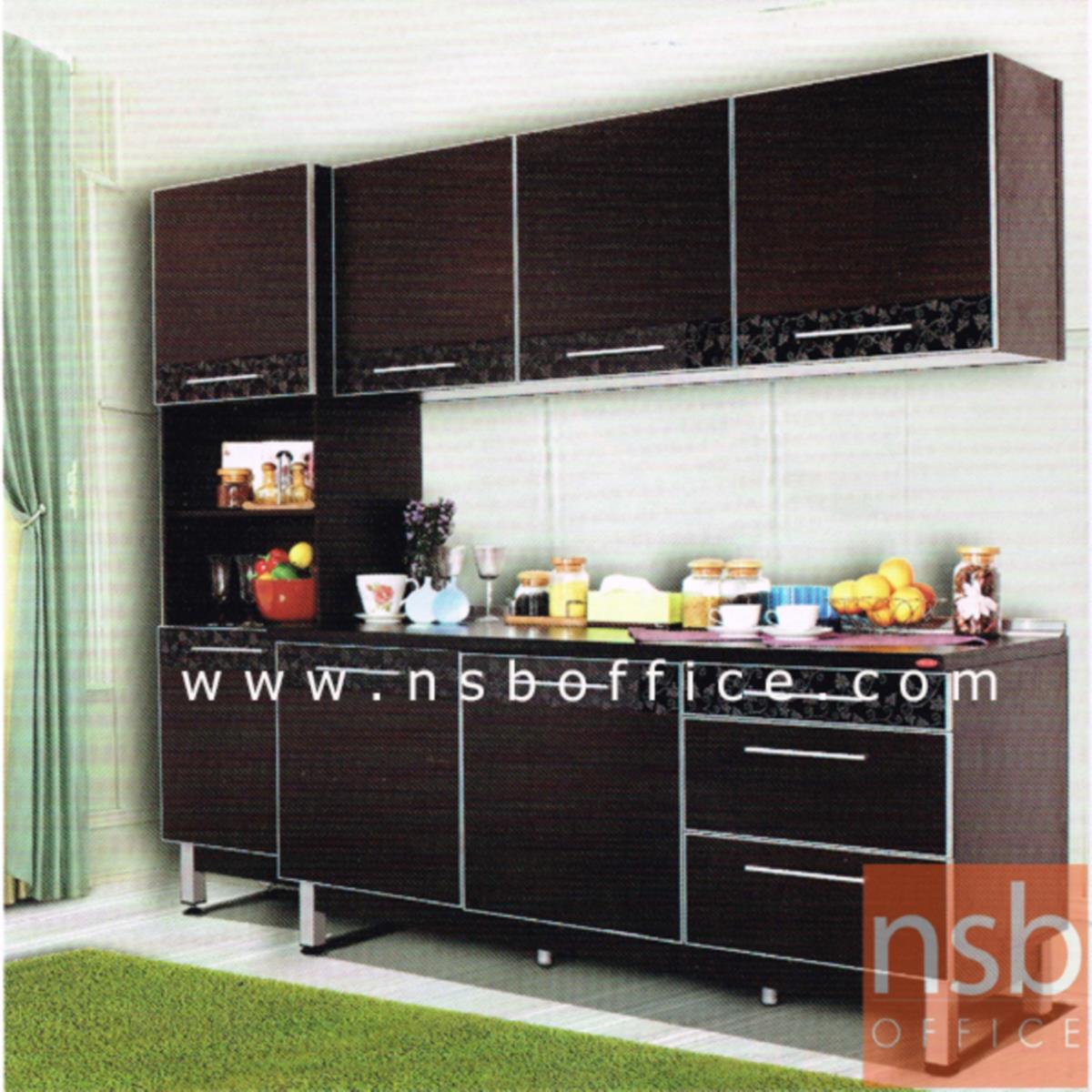 ตู้เคาน์เตอร์ กว้าง 180 ซม. TOP เมลามีนสีดำล้วน รุ่น Rebar (รีบาร์)