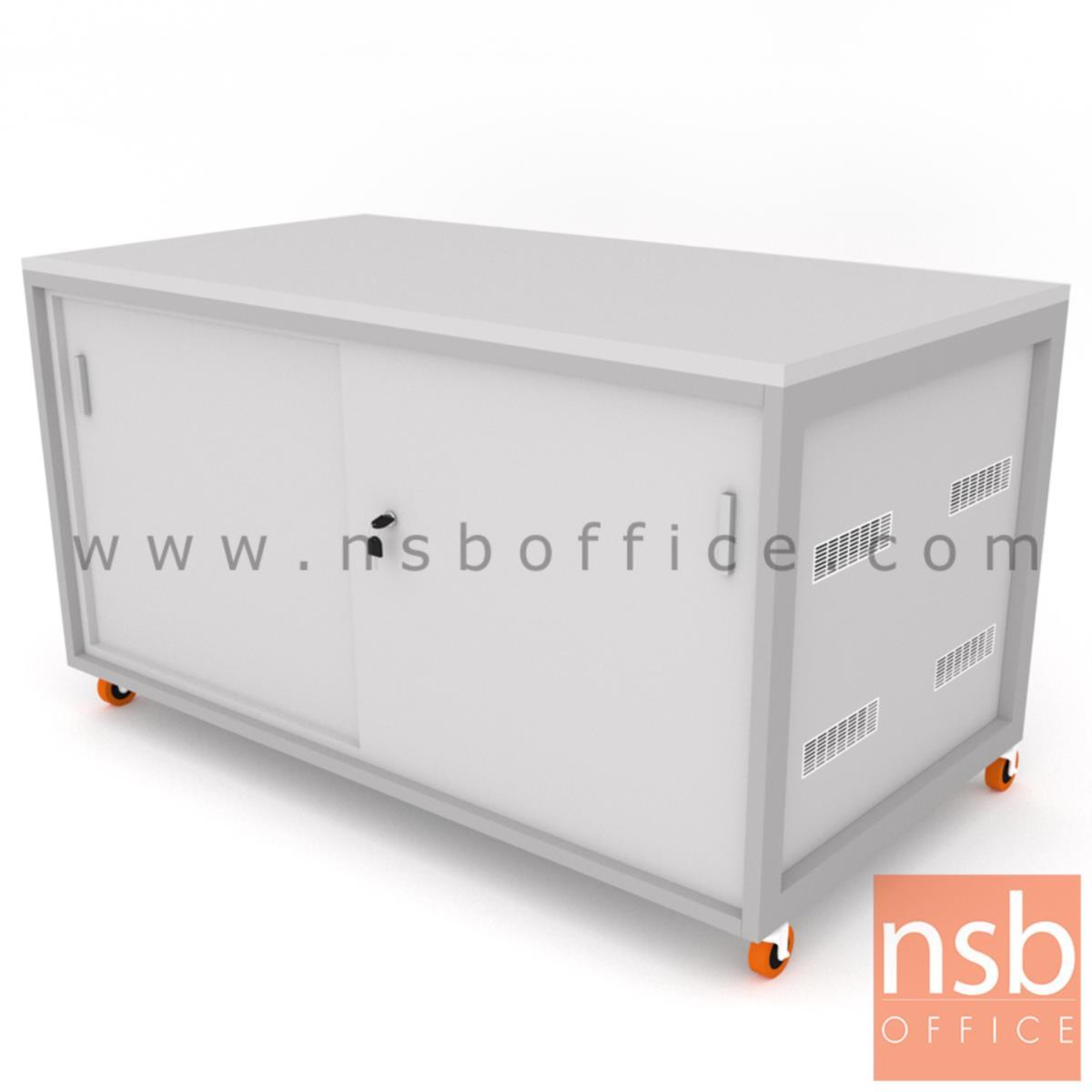 ตู้แลปเก็บอุปกรณ์ บานเลื่อน รุ่น Scenery (ซีนเนอรี่) top HPL ขนาด 150W*80D cm. ล้อเลื่อน