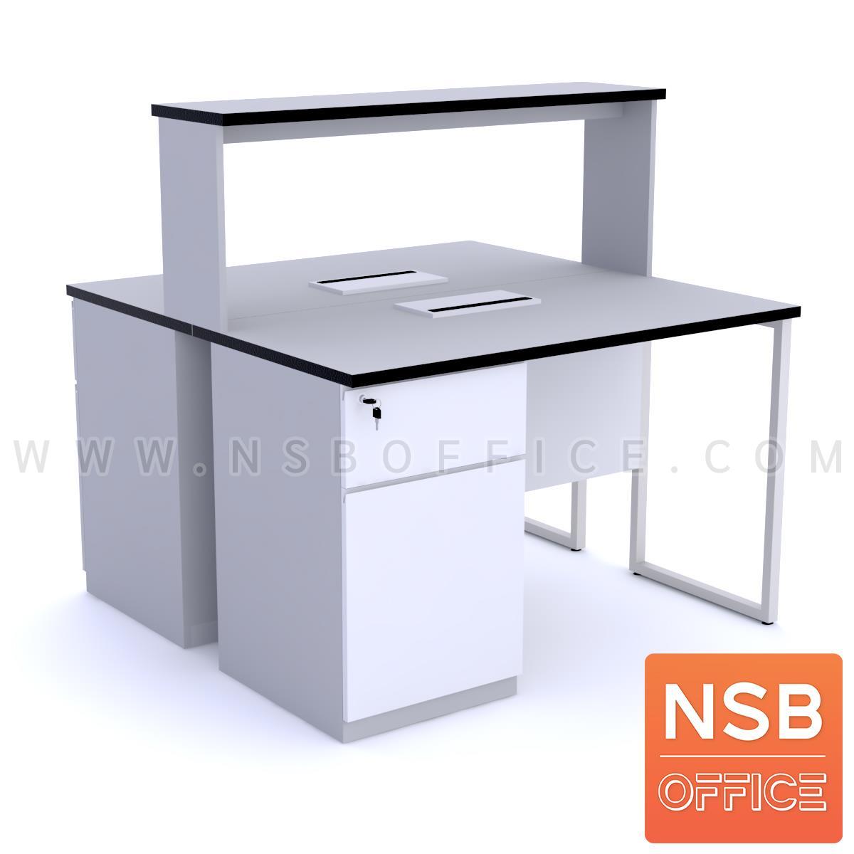 C12A016:โต๊ะห้องแล๊บท๊อปลามิเนต HPL แบบมีชั้นต่อบน  พร้อม popup กึ่งกลางโต๊ะ