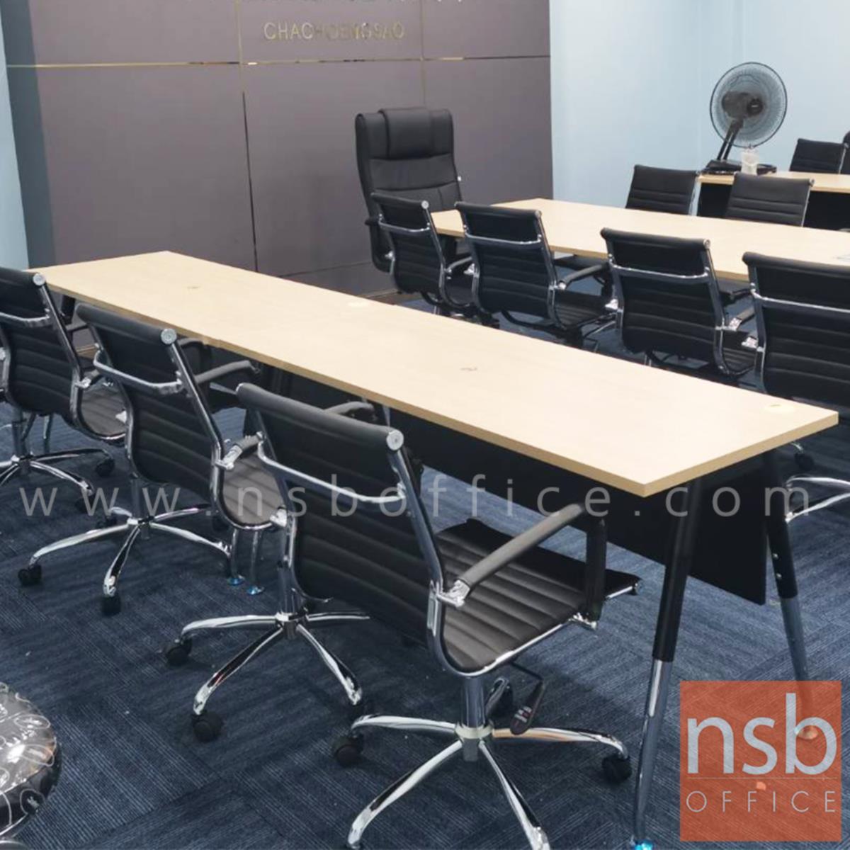 โต๊ะทำงาน บังโป๊ไม้ Taper  ขนาด 120W ,135W ,150W ,180W ,210W cm. ขาเหล็กวีคว่ำทำสี