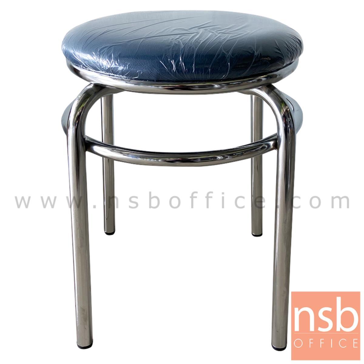 B10A086:เก้าอี้สตูลกลมใหญ่ ที่นั่งเบาะหนังเทียม twin ring ขาเหล็ก