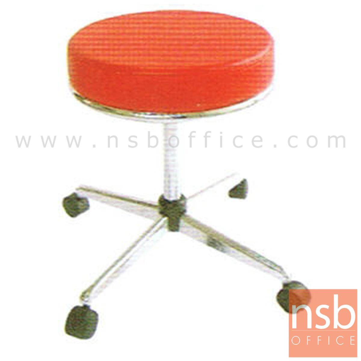 B09A007:เก้าอี้บาร์สตูลที่นั่งกลมล้อเลื่อน รุ่น CS-023 ขาเหล็ก