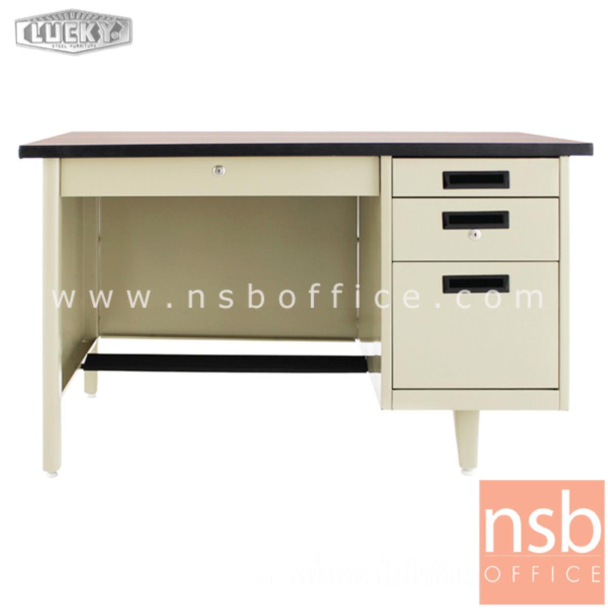 E28A100:โต๊ะทำงานเหล็กหน้าโฟเมก้าลายไม้ 4 ลิ้นชัก ยี่ห้อ Lucky  รุ่น NT-2436,NT-2642,NT-2648