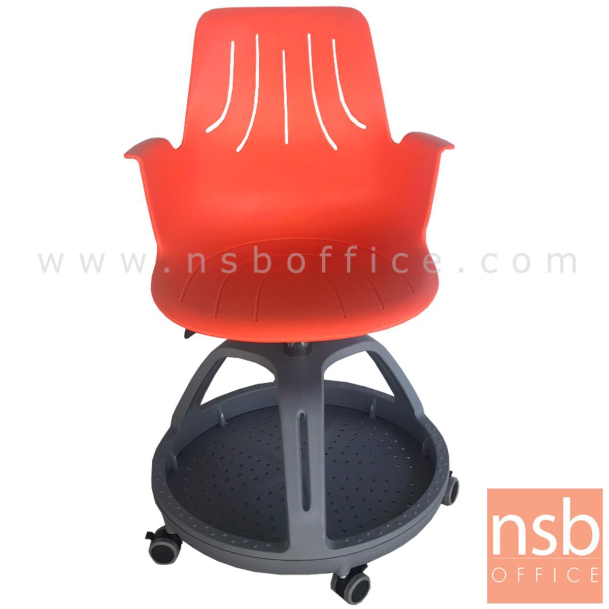 B30A045:เก้าอี้เฟรมโพลี่ล้อเลื่อน รุ่น Barnaby (บาร์นาบี้)  ไม่มีแผ่นเลคเชอร์ ฐานกลมวางกระเป๋าได้
