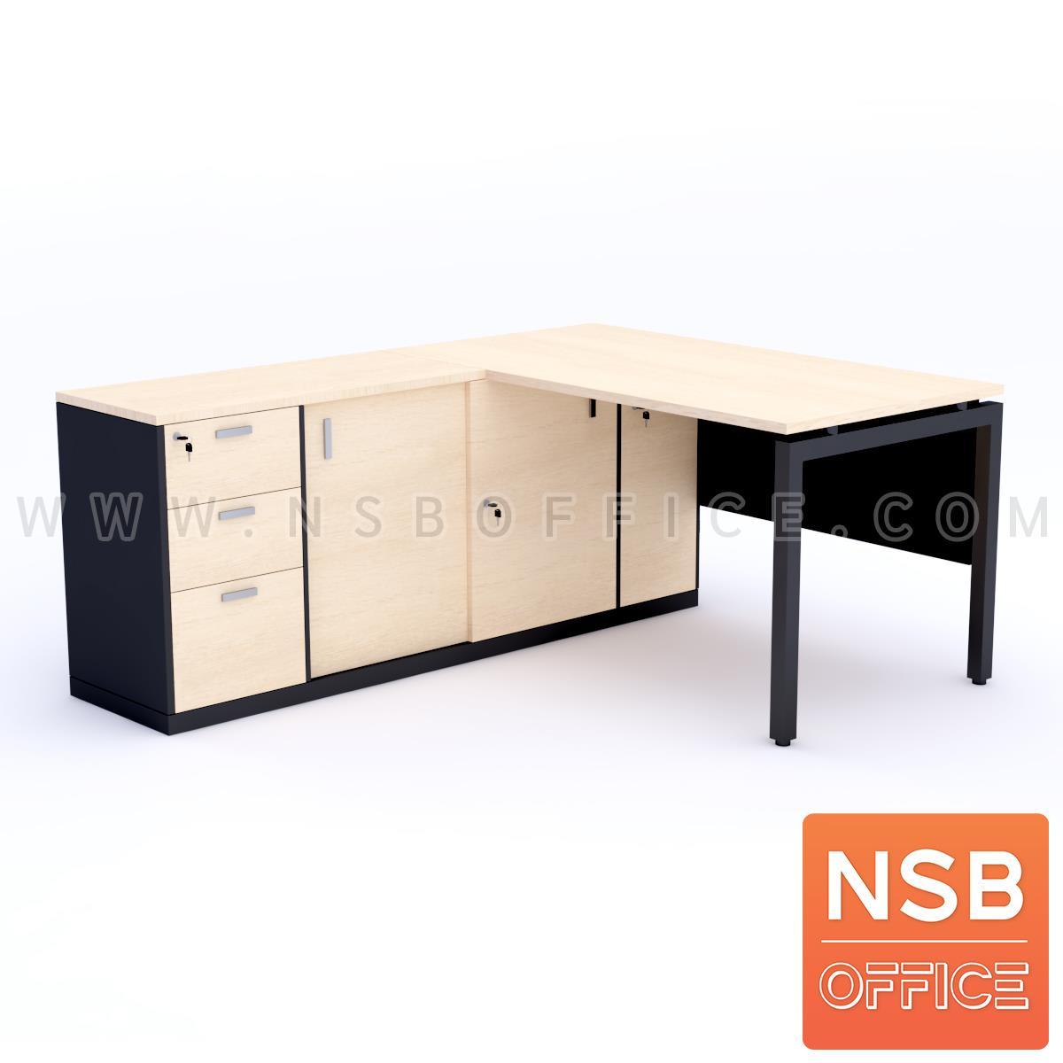 A13A161:โต๊ะผู้บริหารตัวแอล  รุ่น Braxton (แบรกซ์ตัน) ขนาด 180W1 ,200W1*180W2 cm.  พร้อมตู้ข้าง ขาเหล็กกล่อง พร้อมป็อปอัพรหัส A24A034