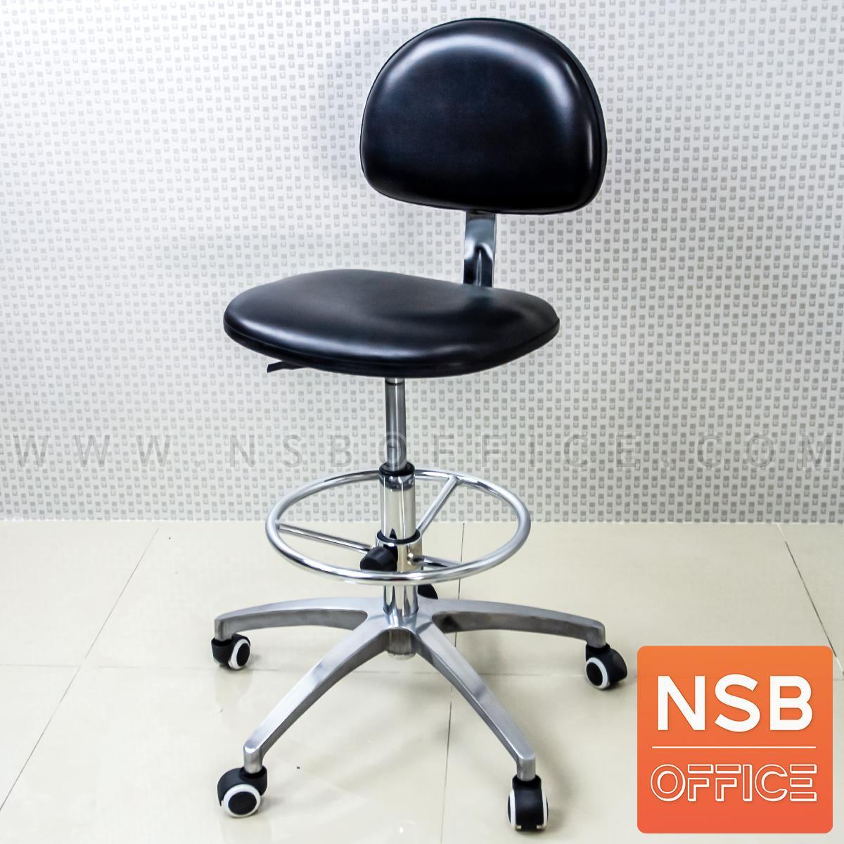 B02A106:เก้าอี้บาร์ที่นั่งเหลี่ยมล้อเลื่อน รุ่น Vernis (เวอร์นิส)  ขาอลูมิเนียม หนังดำ