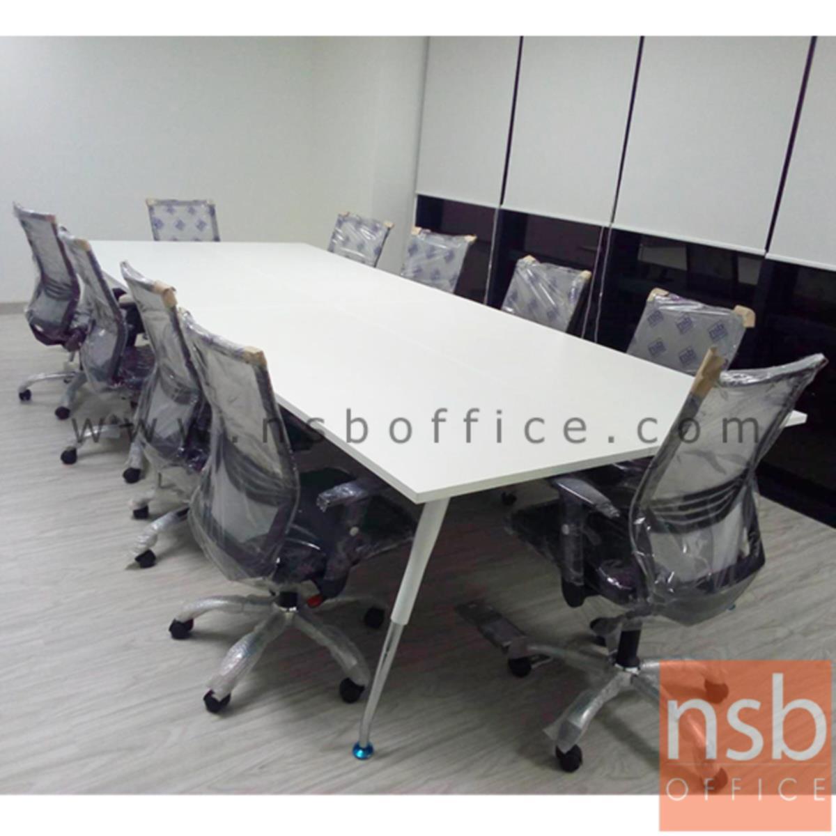 โต๊ะประชุมทรงสี่เหลี่ยมยาว  300W-460W (120D, 150D) cm.  ขาเหล็กปลายเรียว