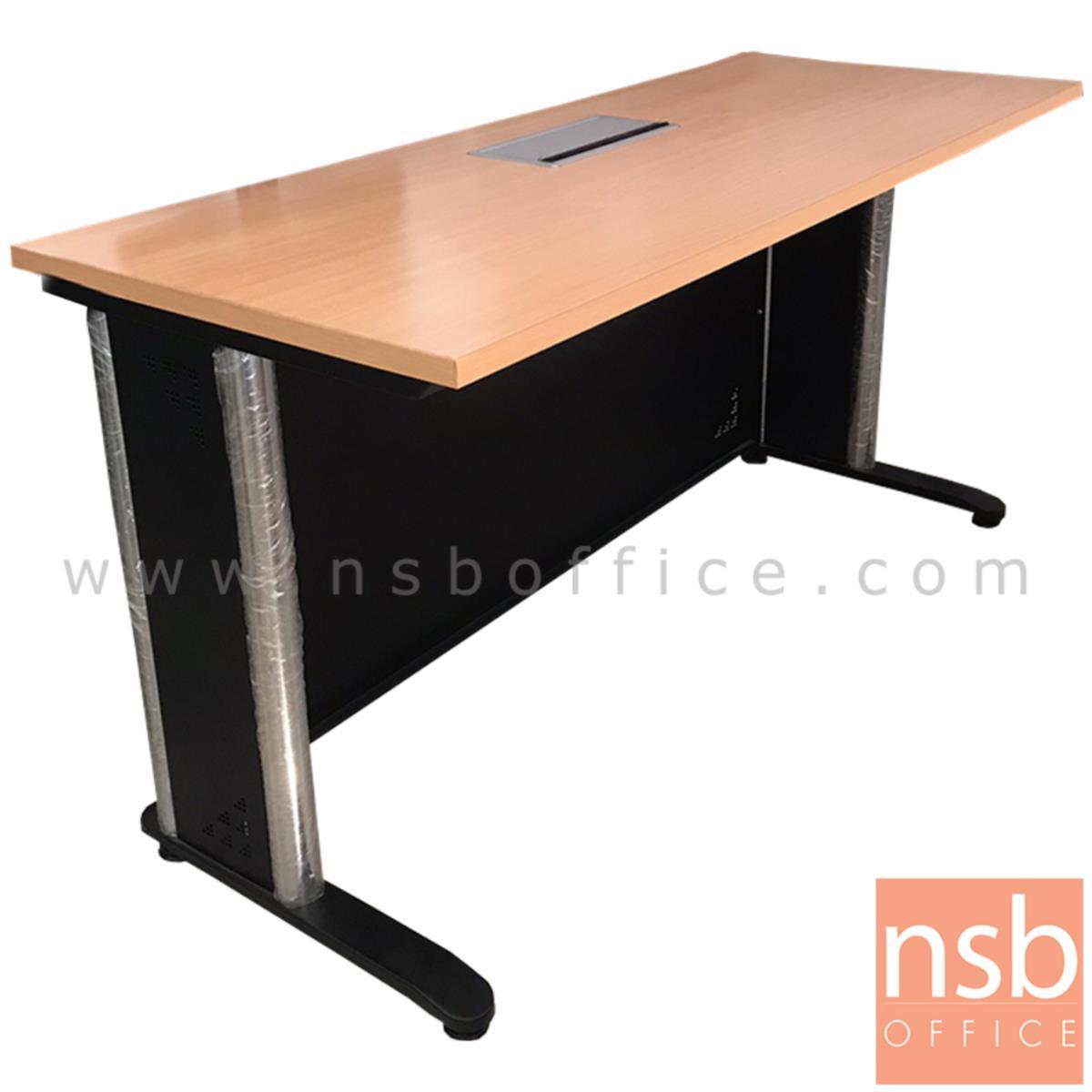 L10A200:โต๊ะทำงานโล่ง+POP UP  ขนาด 150W*76H cm.  ขาเหล็กพ่นดำ