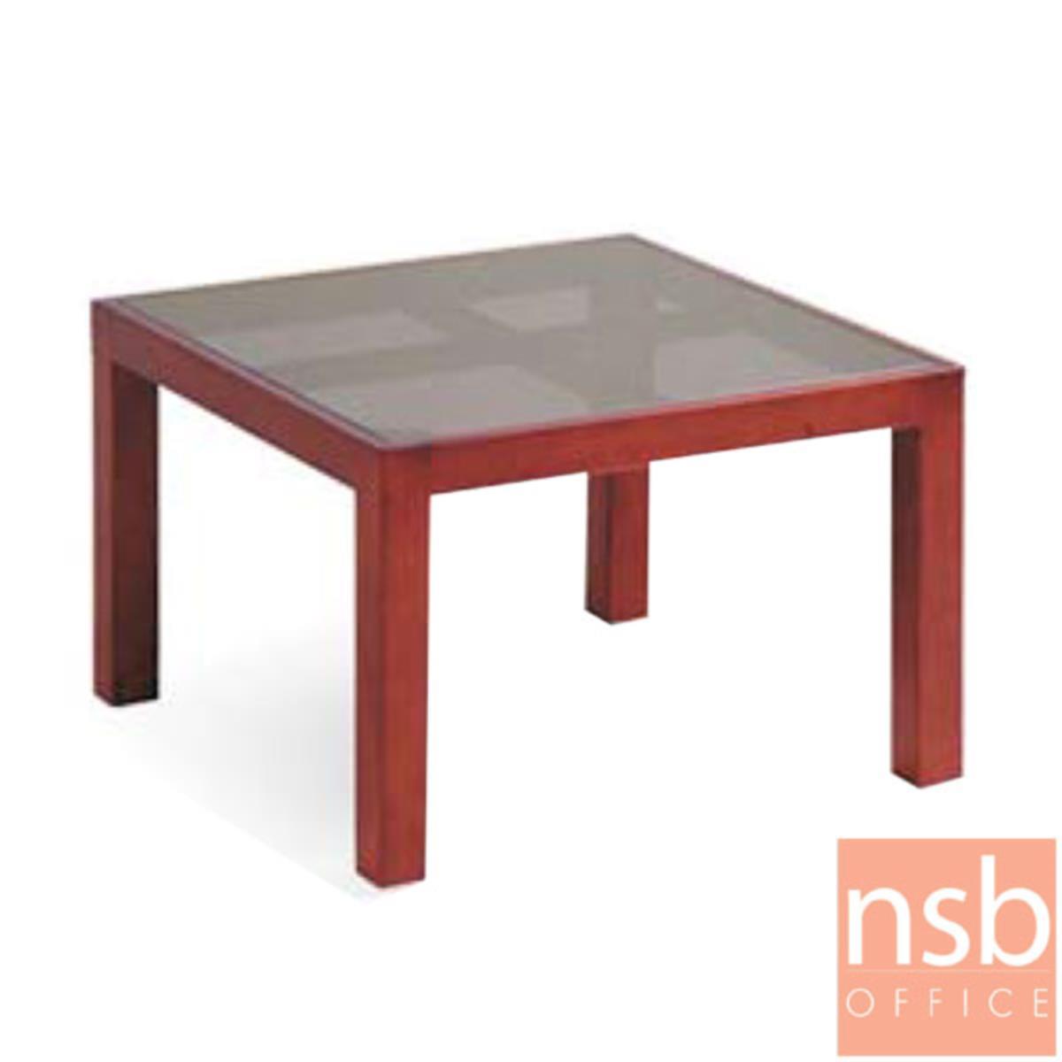 B13A254:โต๊ะกลางกระจกสีชา รุ่น TB-4 ขนาด 60W cm. โครงไม้ยางพารา