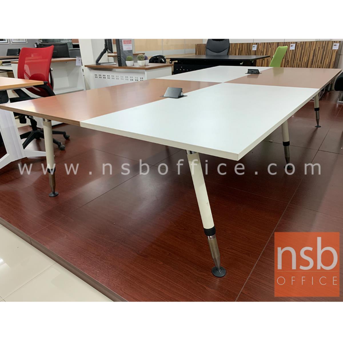 โต๊ะประชุมทรงสี่เหลี่ยม 12 ที่นั่ง  รุ่น Panax (พาแน็กซ์) ขนาด 320W cm. พร้อมฝาเปิดปิดปลั๊กไฟบนโต๊ะ ขาเหล็ก