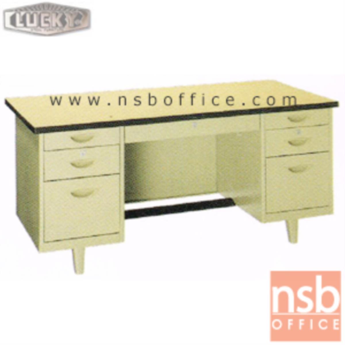 E28A103:โต๊ะทำงานเหล็กหน้าโฟเมก้า 7 ลิ้นชัก ยี่ห้อ Lucky  รุ่น NTN-2654,NTN-3060,NTN-3472
