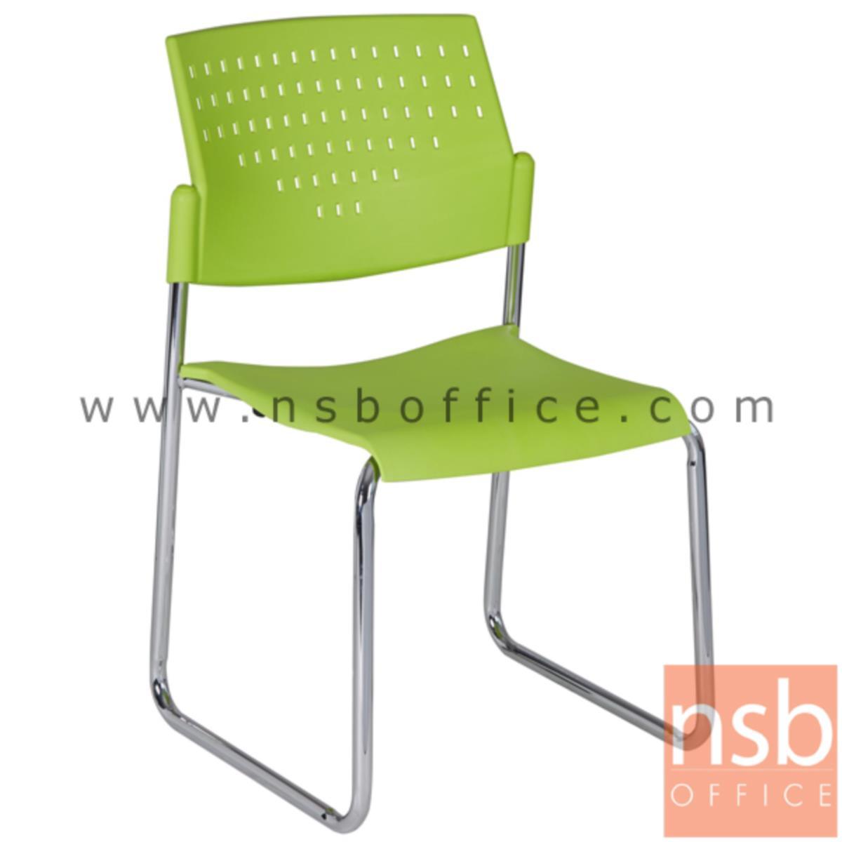 B05A125:เก้าอี้รับแขกขาตัวยูหลังเปลือกโพลี่ รุ่น Ivan (อีวาน)  ขาเหล็กชุบโครเมี่ยม