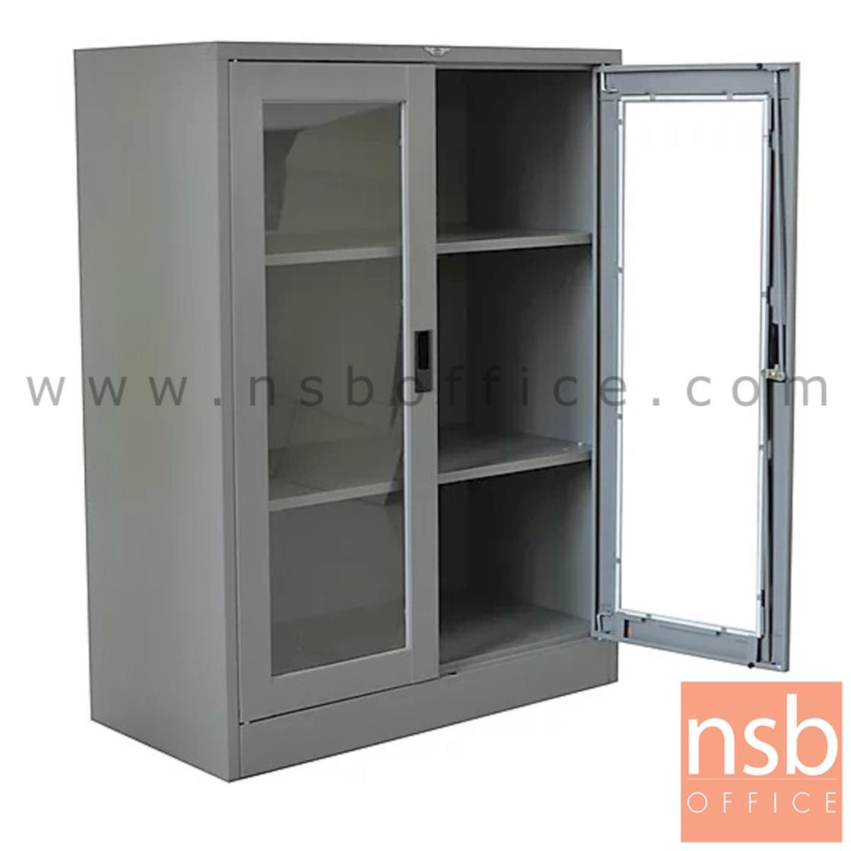 ตู้เหล็ก 2 บานเปิดกระจกใสมือจับฝัง รุ่น Gaston (แกสตัน) 3 ฟุต 4 ฟุต (122.5 H cm.)