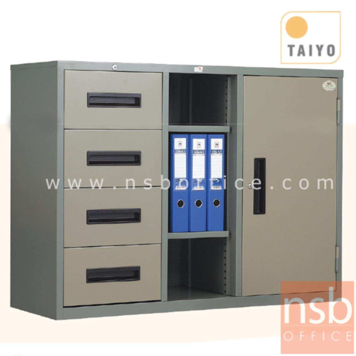 E02A014:ตู้เหล็กเอนกประสงค์ 4 ฟุต (1 บานเปิด 1 ช่องกลาง 4 ลิ้นชักข้าง) รุ่น RD-411
