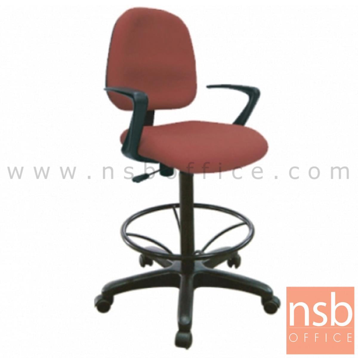 B02A060:เก้าอี้บาร์ที่นั่งเหลี่ยมล้อเลื่อน รุ่น Scrow (สโครว์)  มีก้อนโยก ขาพลาสติกแบบตัน