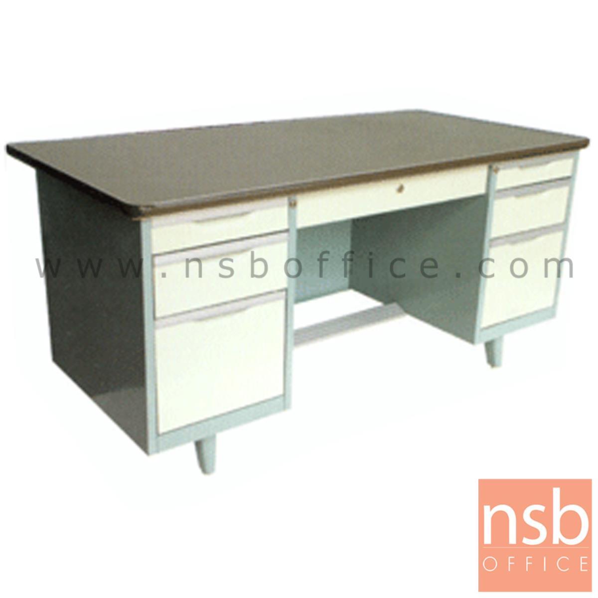 E22A007:โต๊ะทำงานเหล็กหน้าเหล็ก PVC 7 ลิ้นชัก รุ่น ST-5460 ขนาด 4.5 ,5 ฟุต