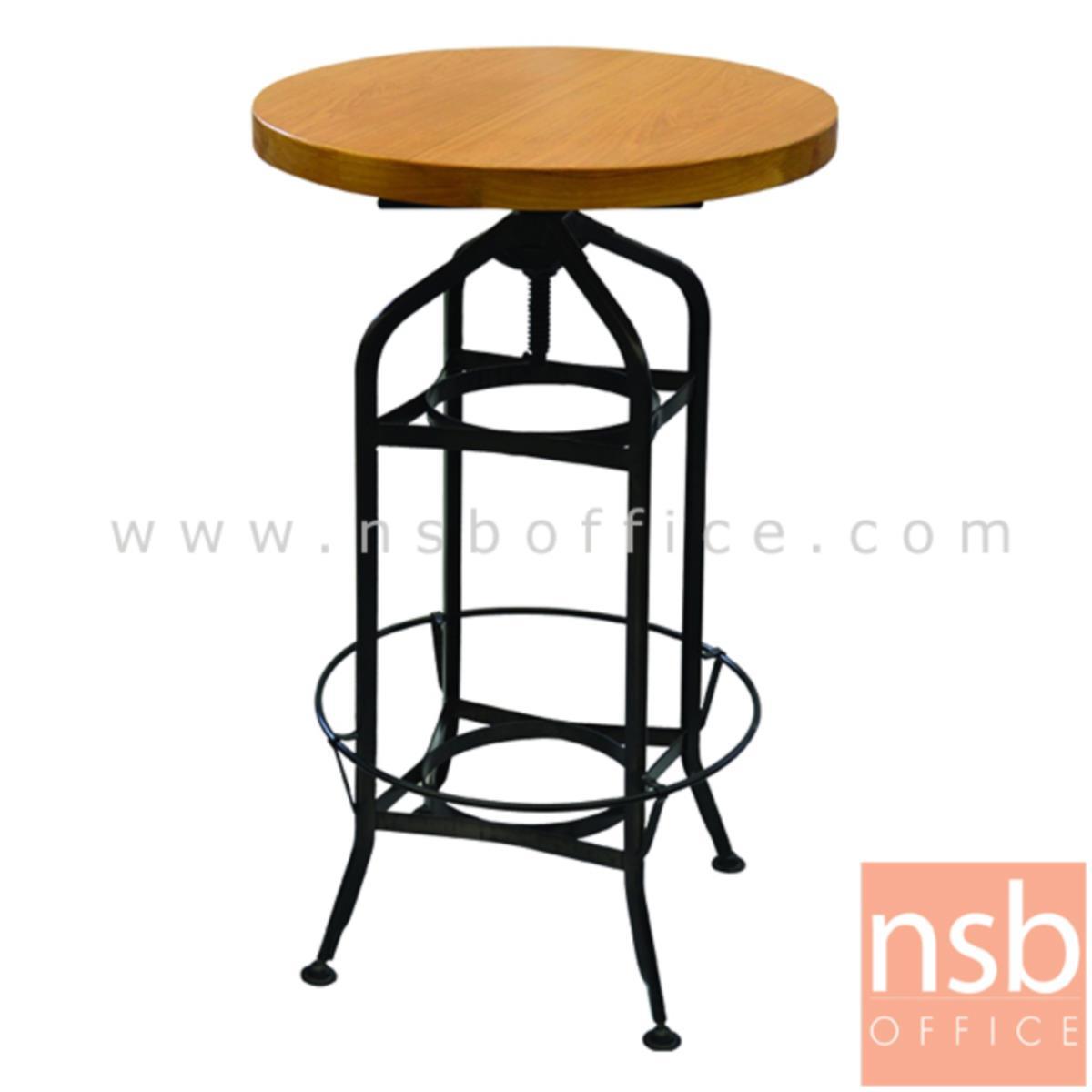 A14A178:โต๊ะหน้าไม้วีเนียร์ รุ่น NP4981-GM  ขนาด 60Di cm.  โครงขาเหล็กพ่นสีดำ