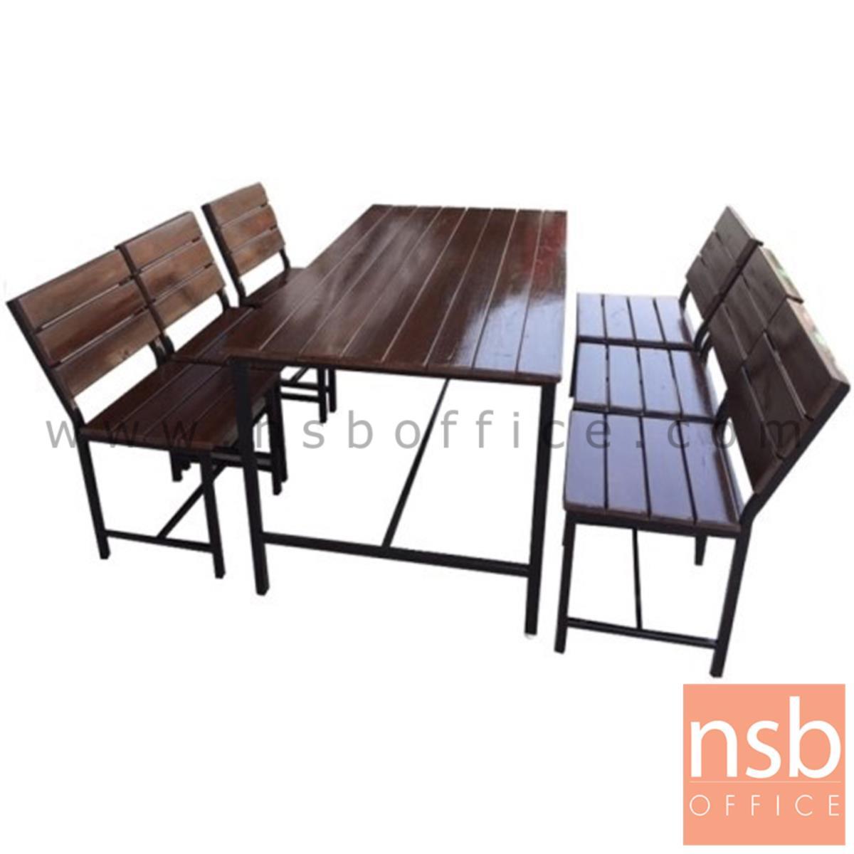 ชุดโต๊ะและเก้าอี้กิจกรรมไม้ระแนงทำสีโอ๊ค รุ่น VIRGINIA (เวอร์จิเนีย) ขนาด 120W ,150W cm. ขาเหล็ก